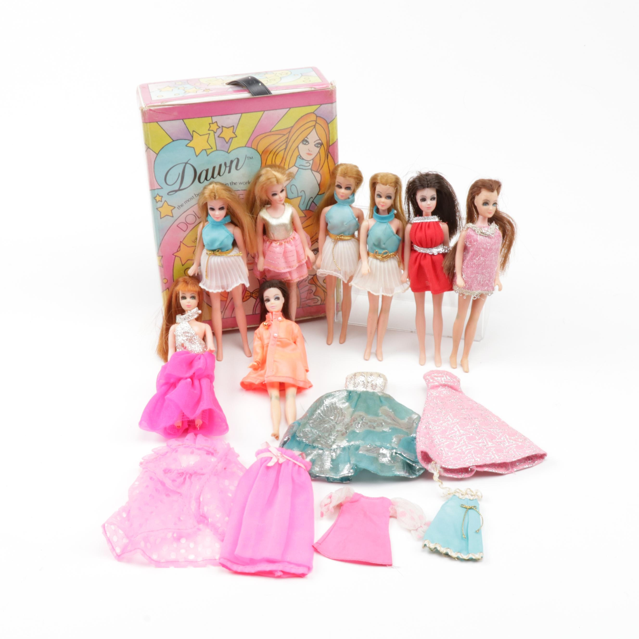 """Topper Corp. """"Dawn"""" Dolls and Clothing with Case"""