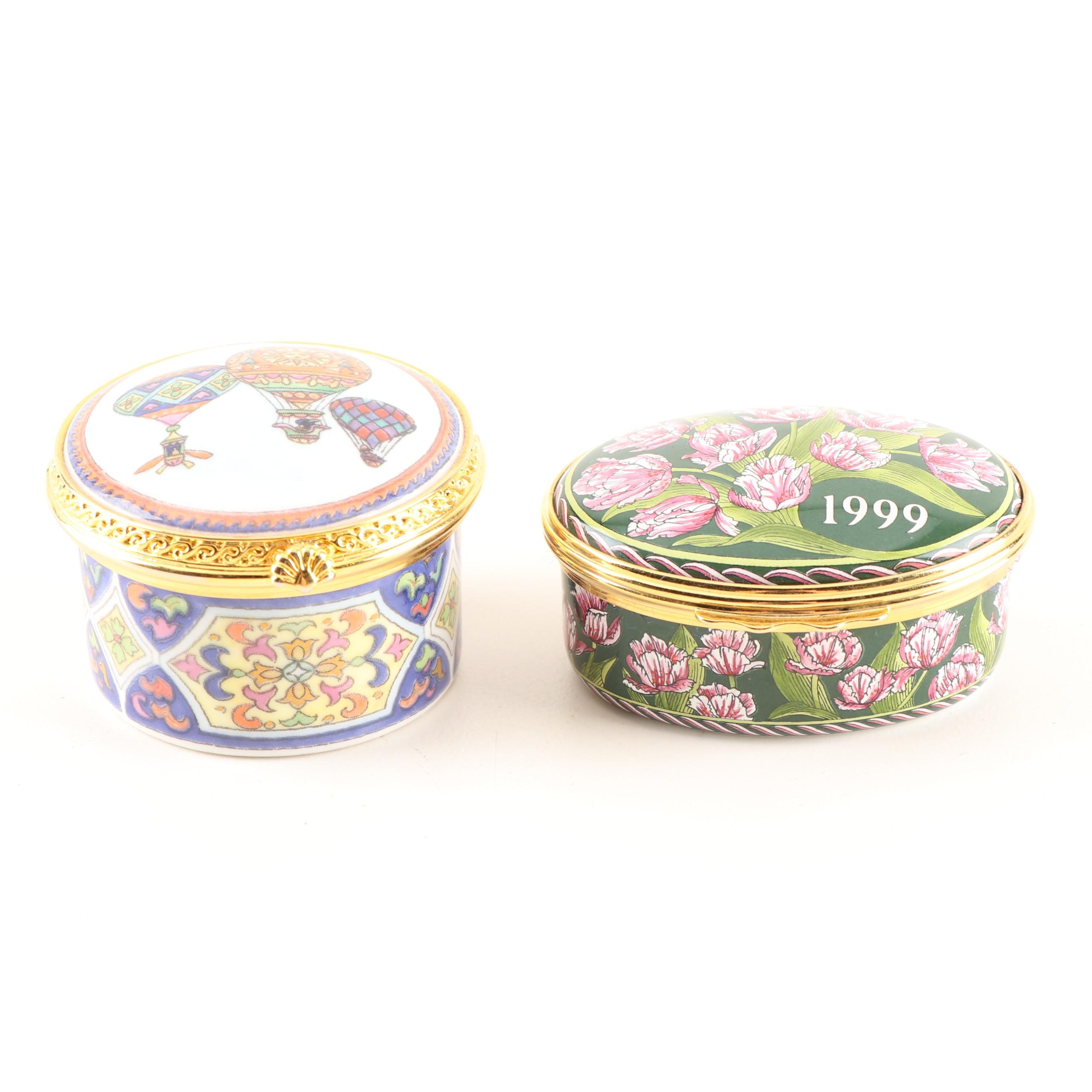 Hand-Painted Porcelain Pill Boxes Featuring Royal Worcester