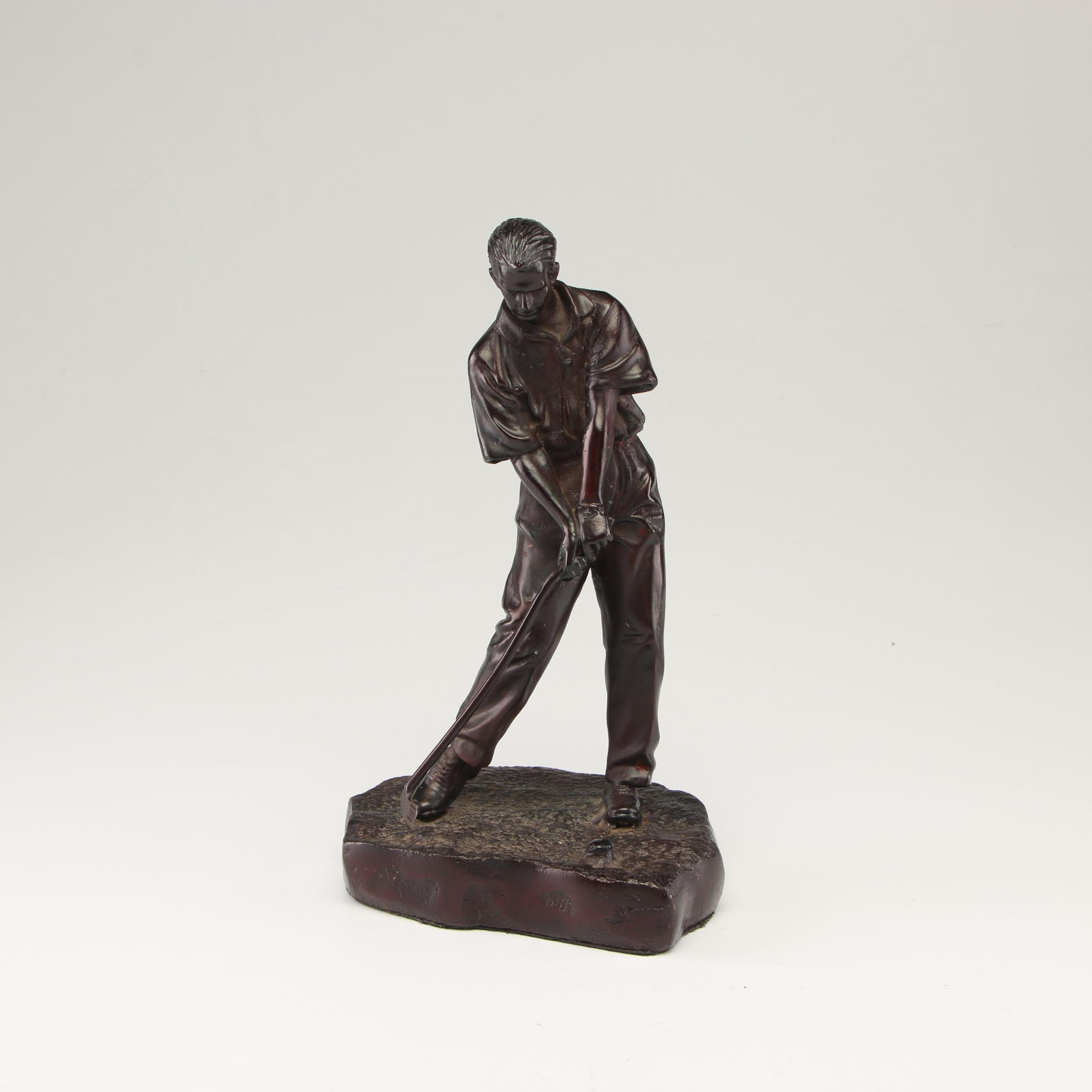 Late 20th Century Metal Sculpture of Golfer