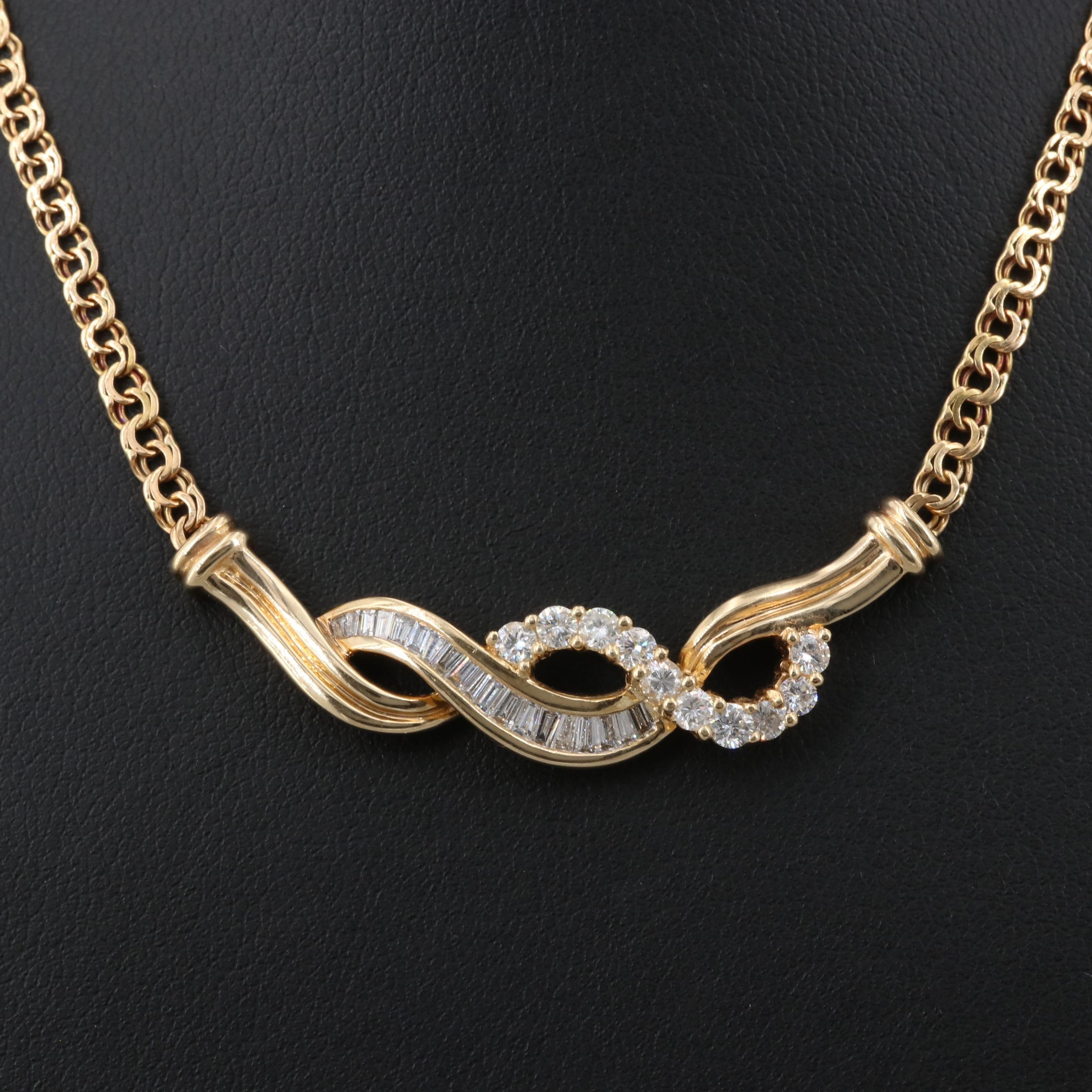 14K and 18K Yellow Gold 1.00 CTW Diamond Necklace