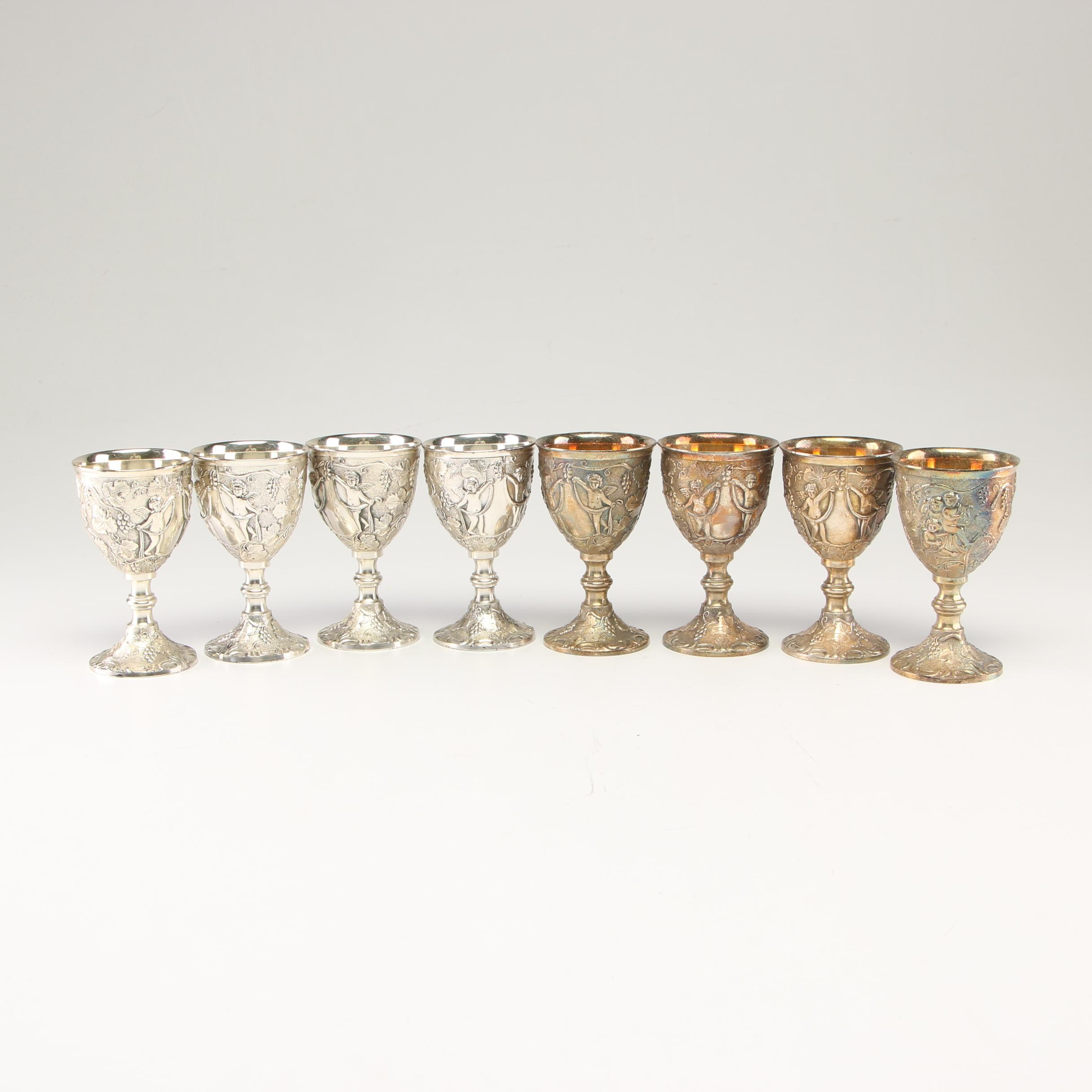 Corbell & Co. Silver Plate Cordial Glasses with Case, Mid to Late 20th Century