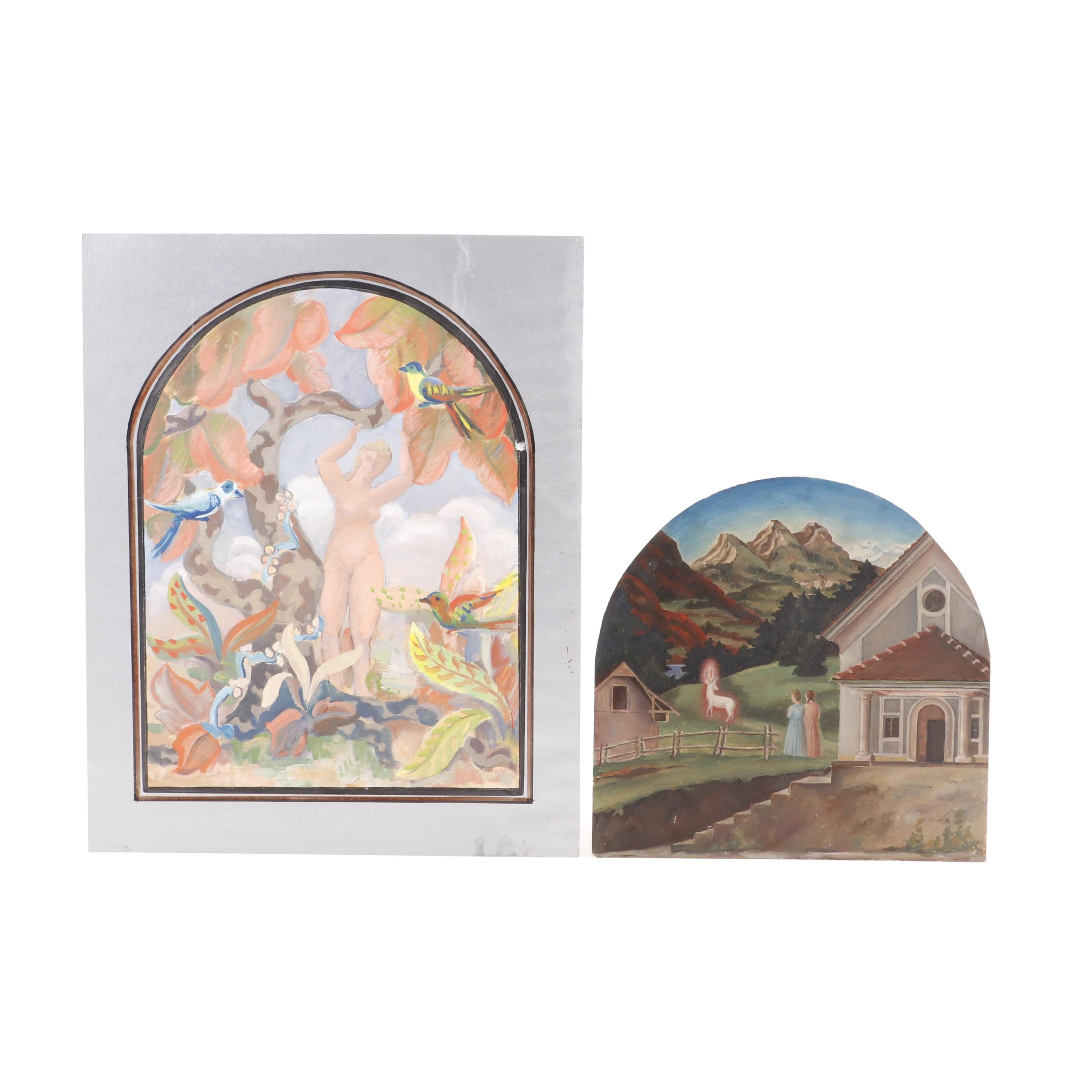 Pastoral Gouache Paintings