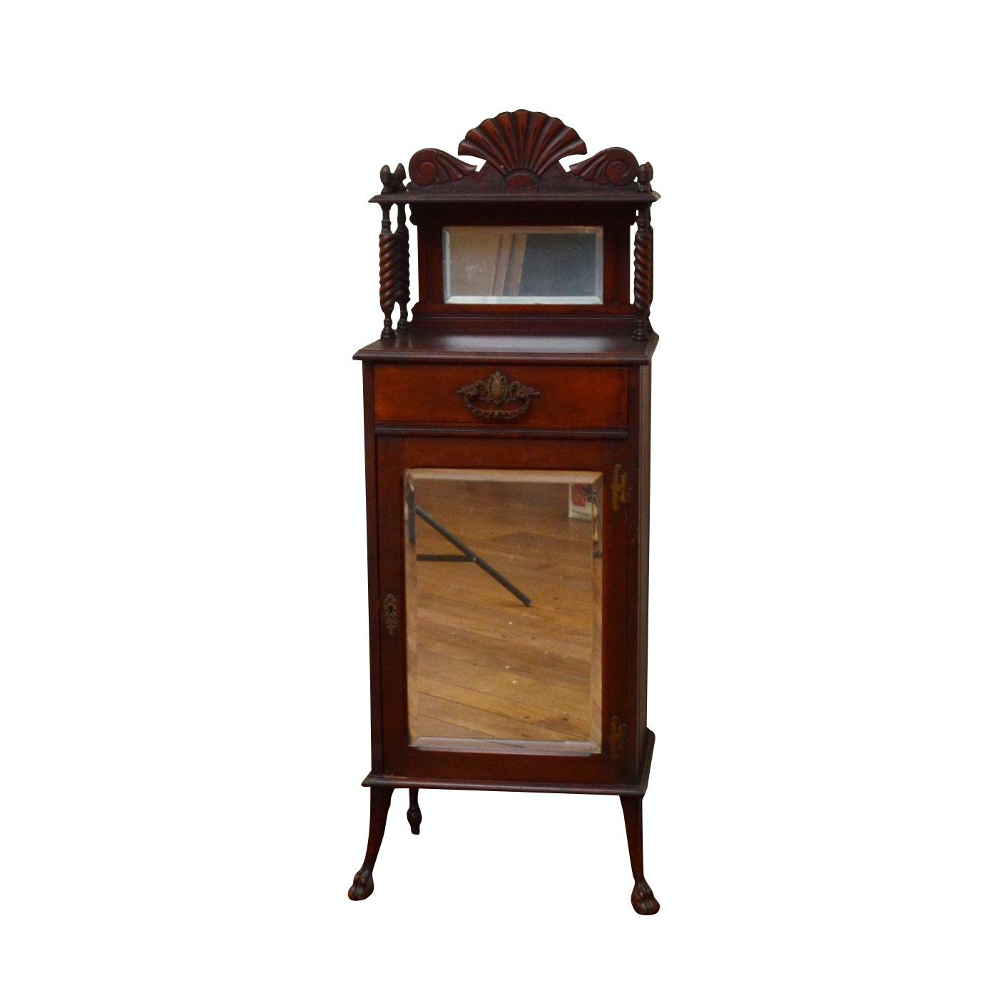 Late Victorian Mahogany-Finish Wooden Mirrored Cabinet, Circa 1890