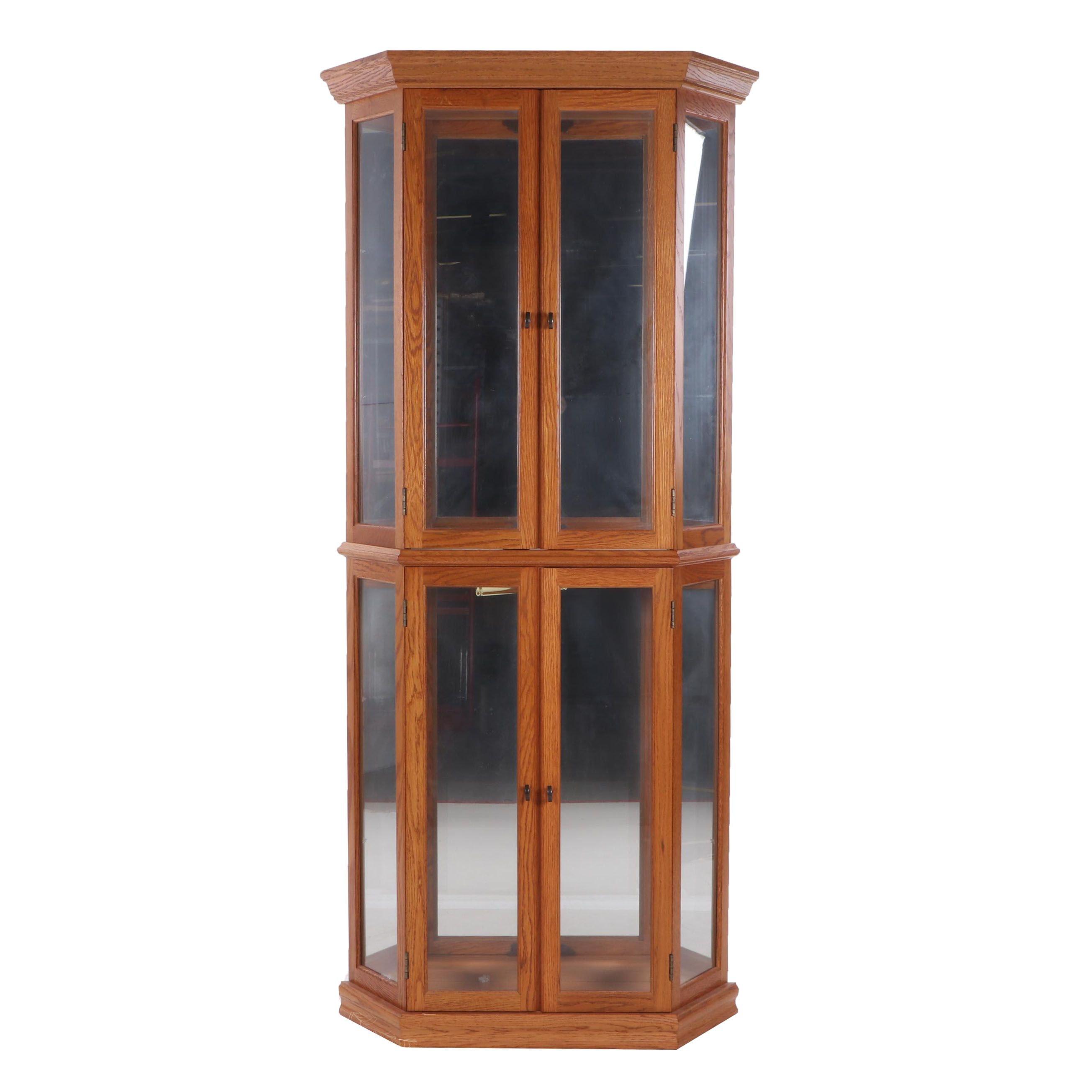 Pulaski Furniture Lighted Oak Curio Cabinet, Contemporary