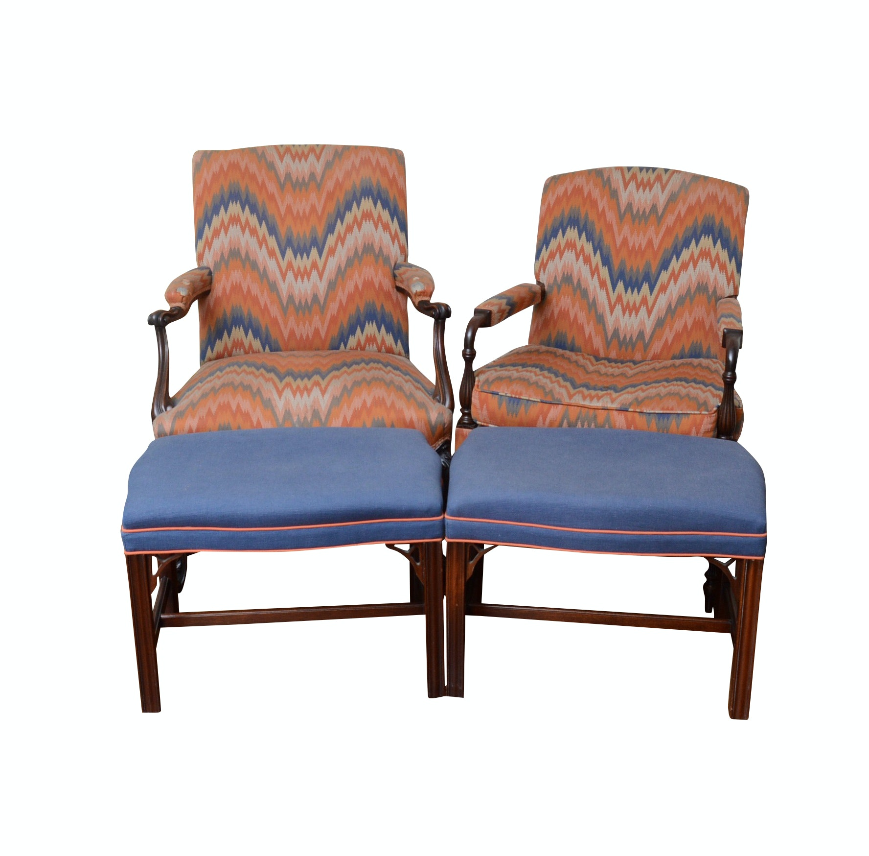 Pair of Armchairs with Southwood Ottomans