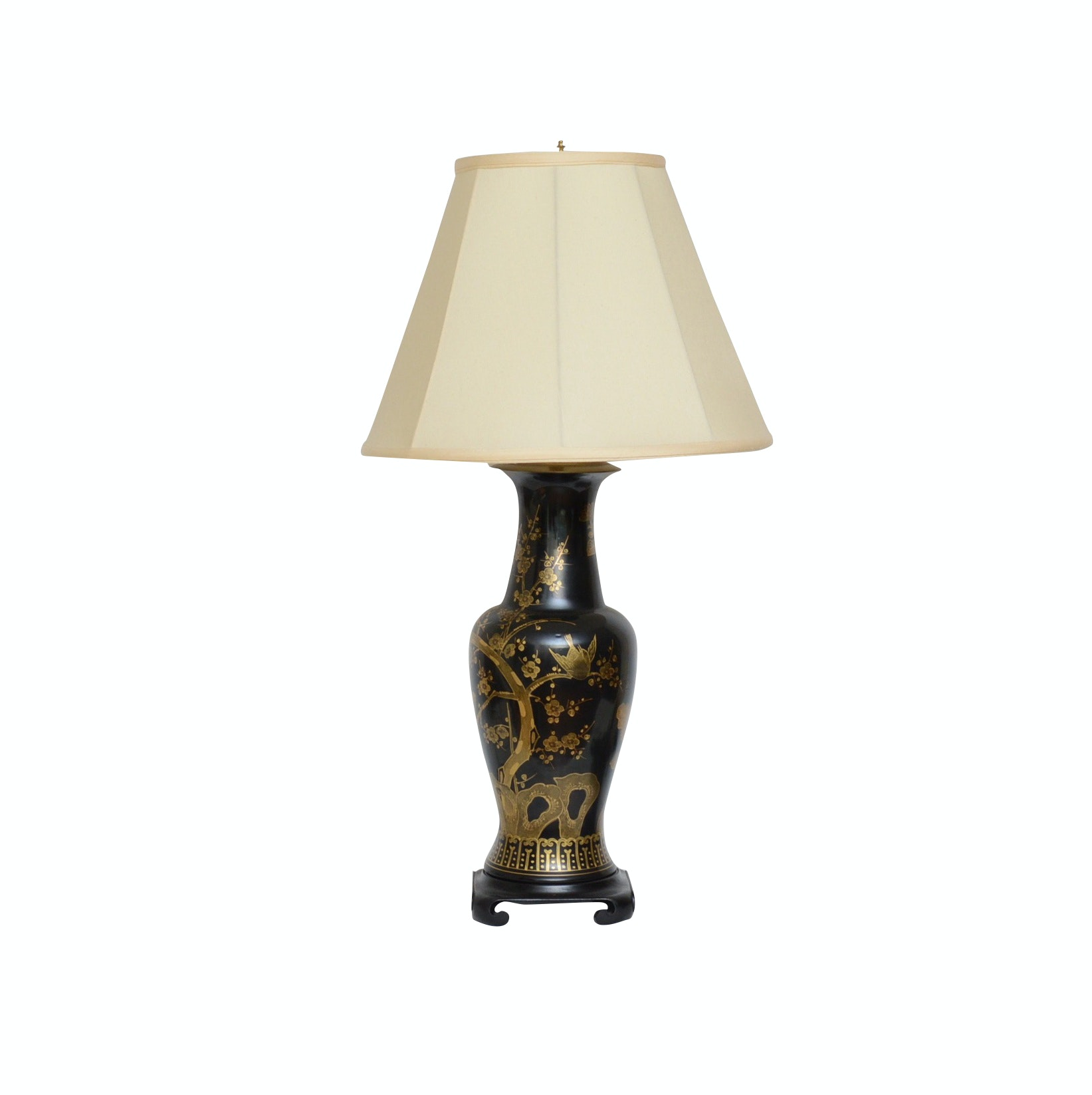 Chinoiserie Black and Gold Ceramic Lamp