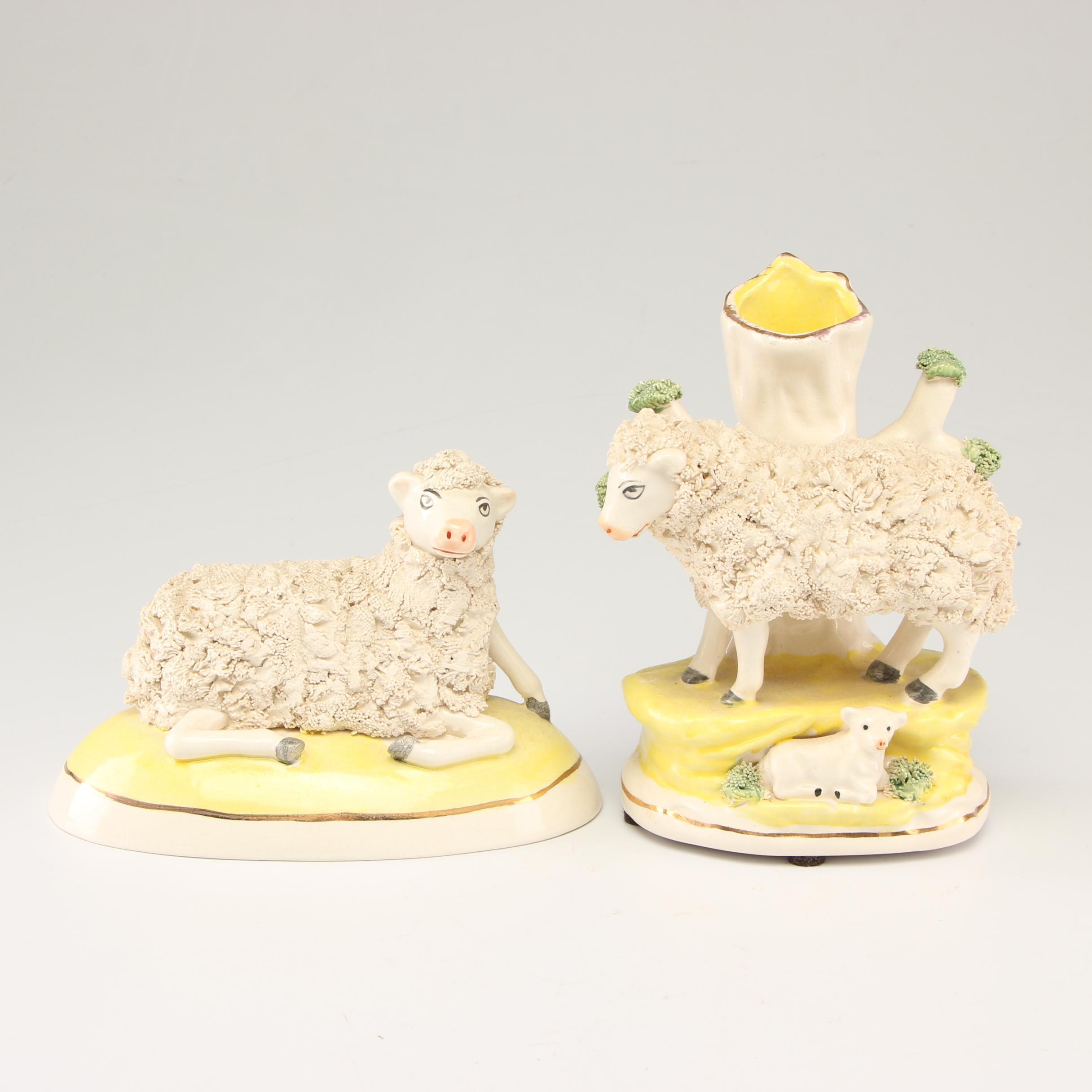 Staffordshire Style Sheep Figurine and Spill Vase, Early to Mid 20th Century