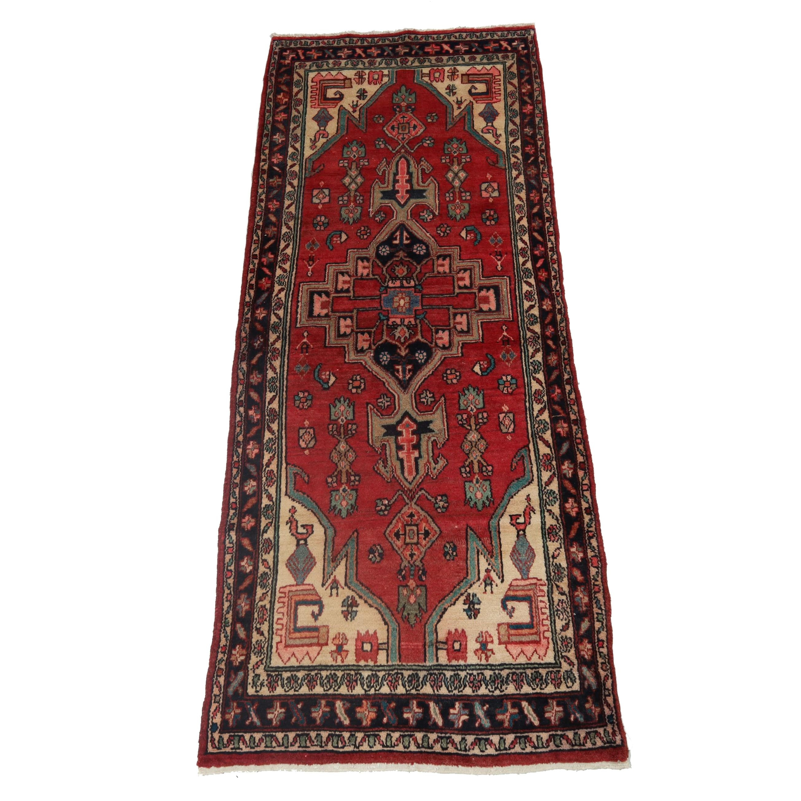 3.5' x 8.11' Hand-Knotted Persian Malayer Pictorial Carpet Runner, Circa 1950