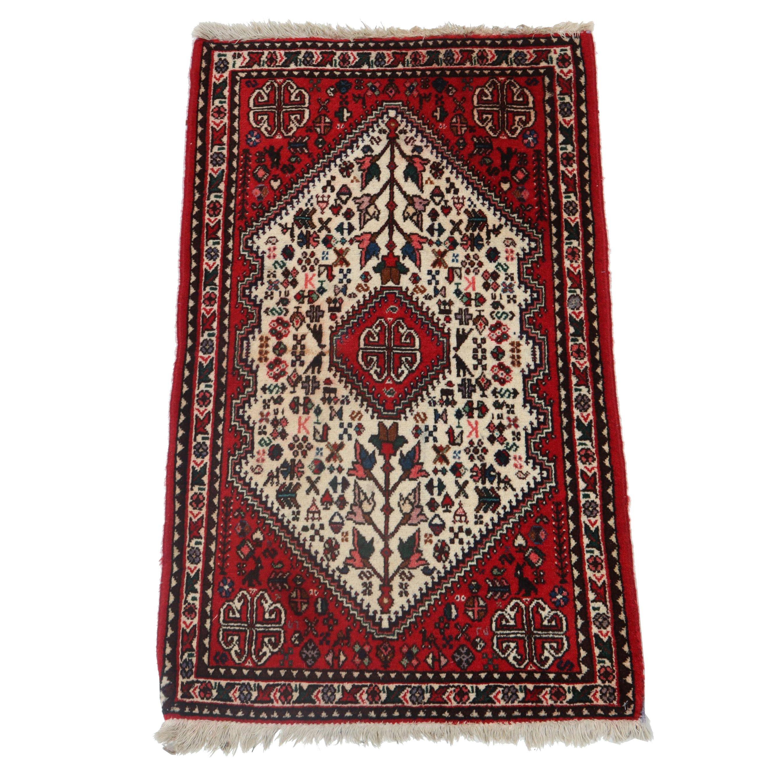 1.10' x 3.4' Hand-Knotted Persian Abadeh Shiraz Wool Rug, Circa 1970s