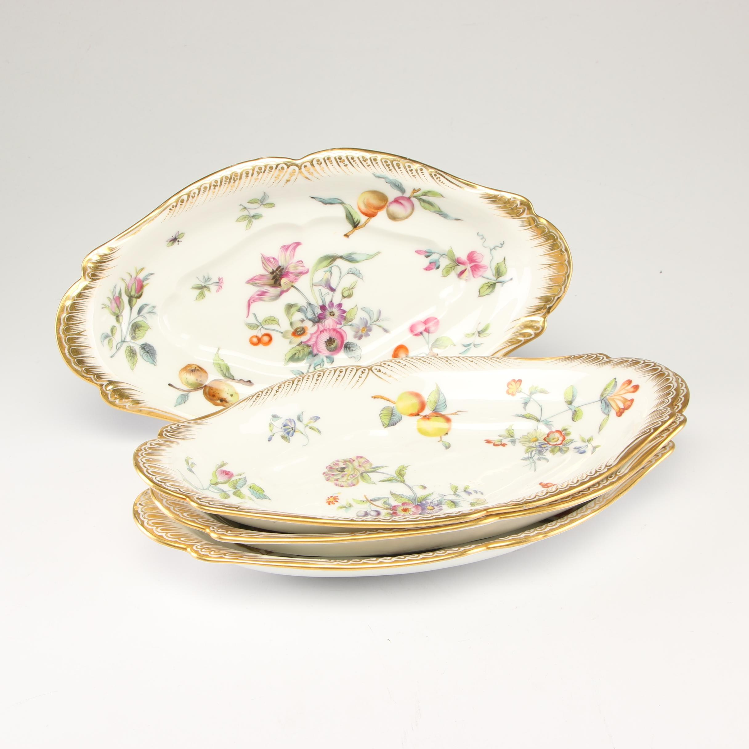 French Porcelain Ravier Serving Dishes with Floral Motif, Late 19th Century