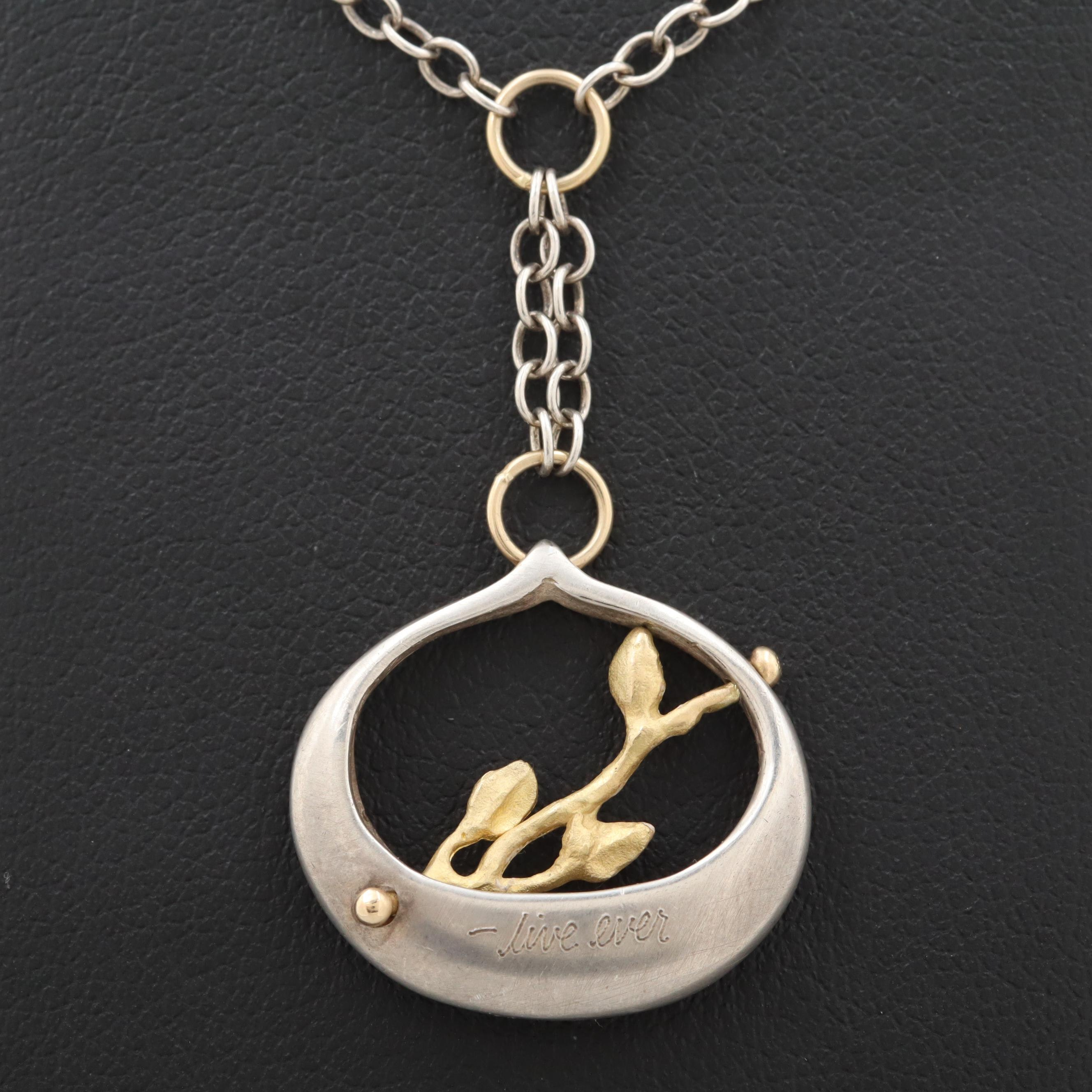 Sterling Silver Necklace with 18K Yellow Gold Accents