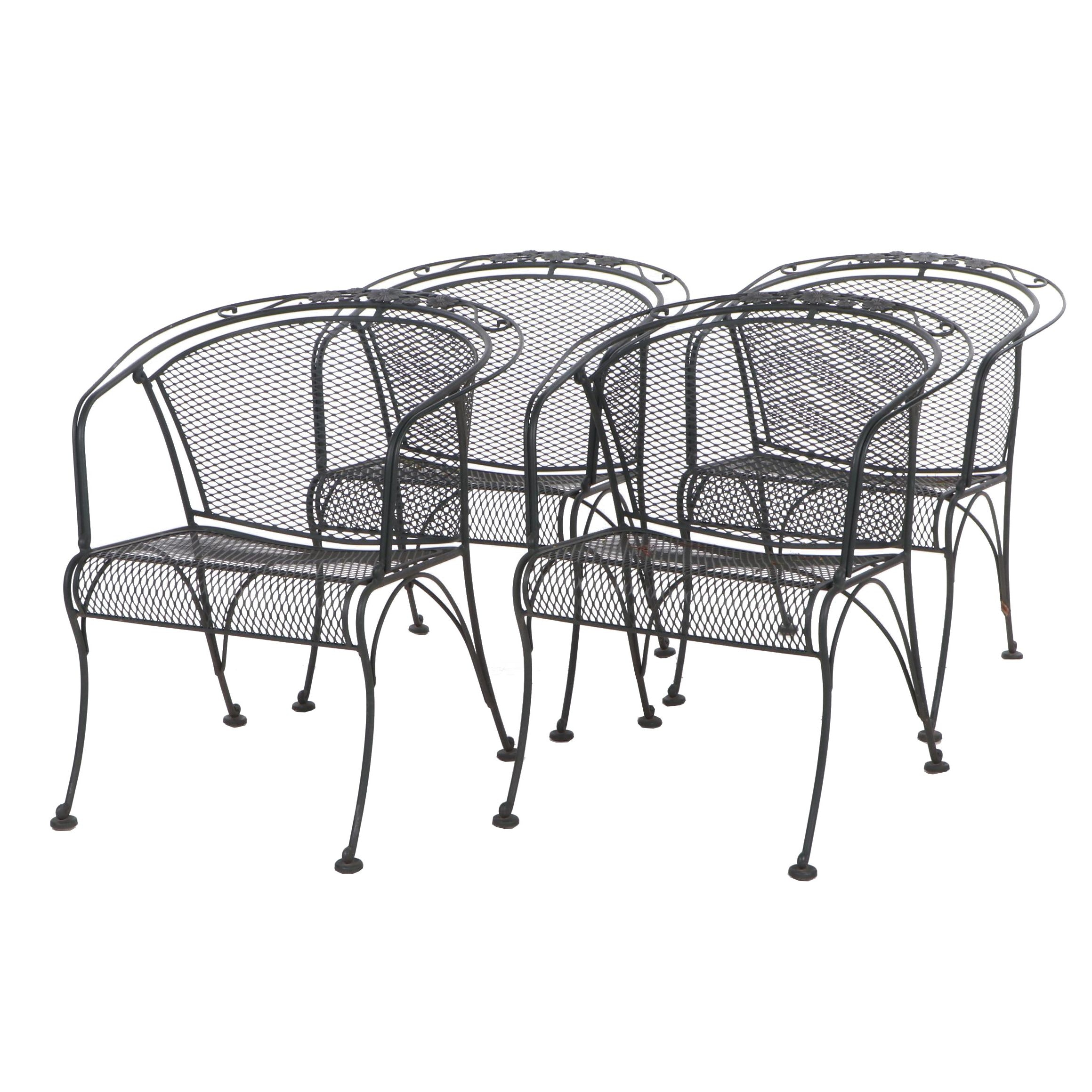 Wrought Iron Barrel Back Patio Dining Chairs