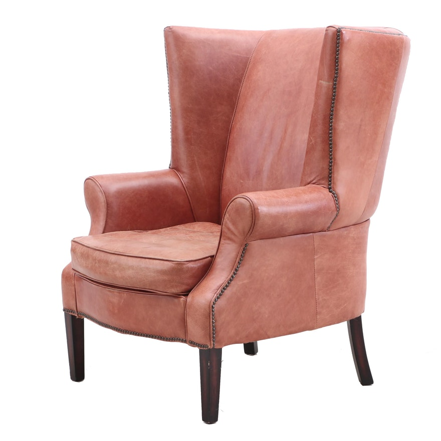 Terrific Brown Leather Wingback Chair Mid To Late 20Th Century Short Links Chair Design For Home Short Linksinfo