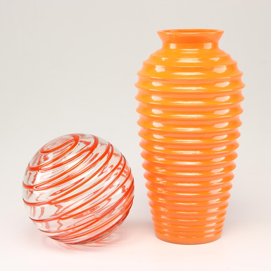 Handcrafted Art Glass Vase with Blown Glass Orb, Contemporary