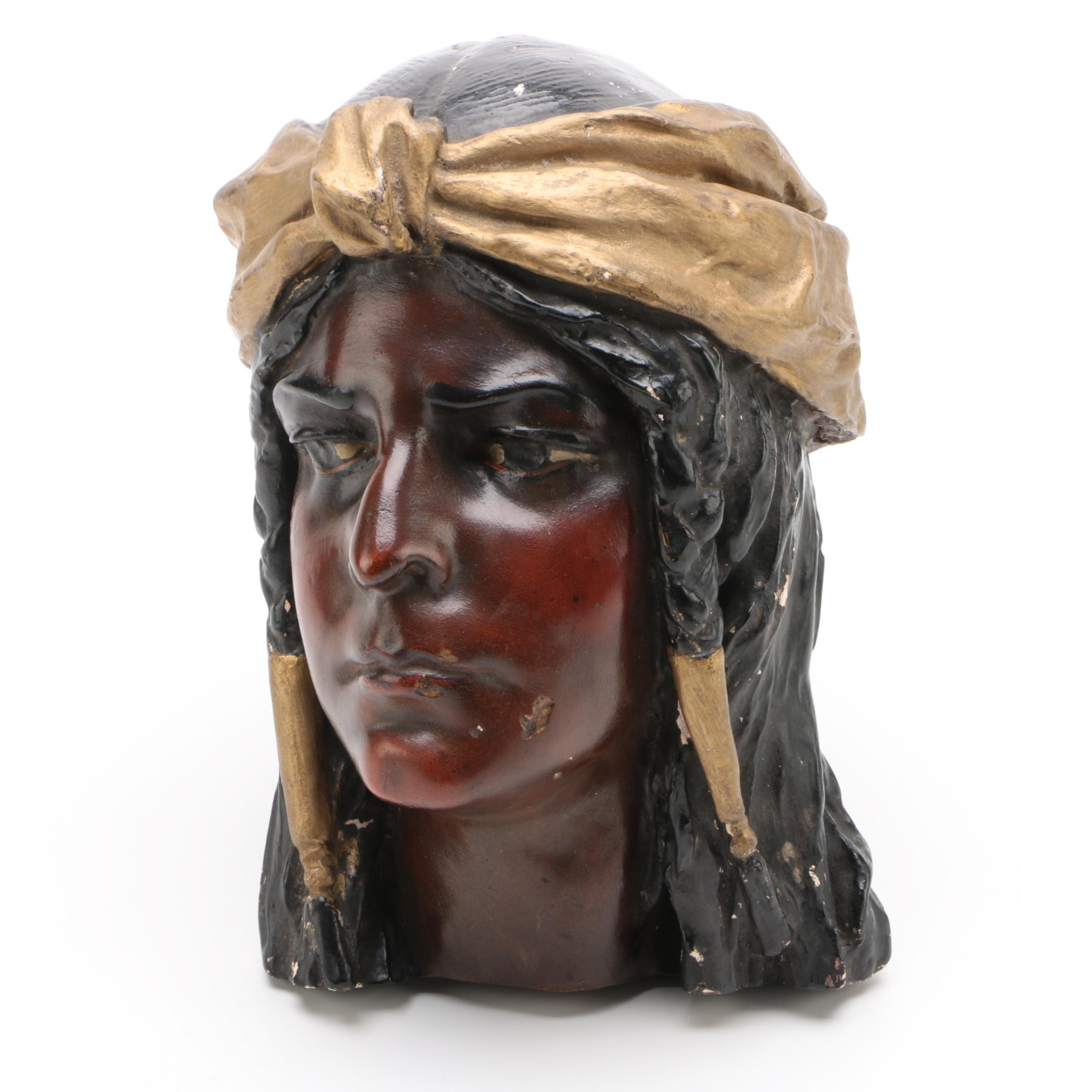 Plaster Head of a Native American Man, Vintage