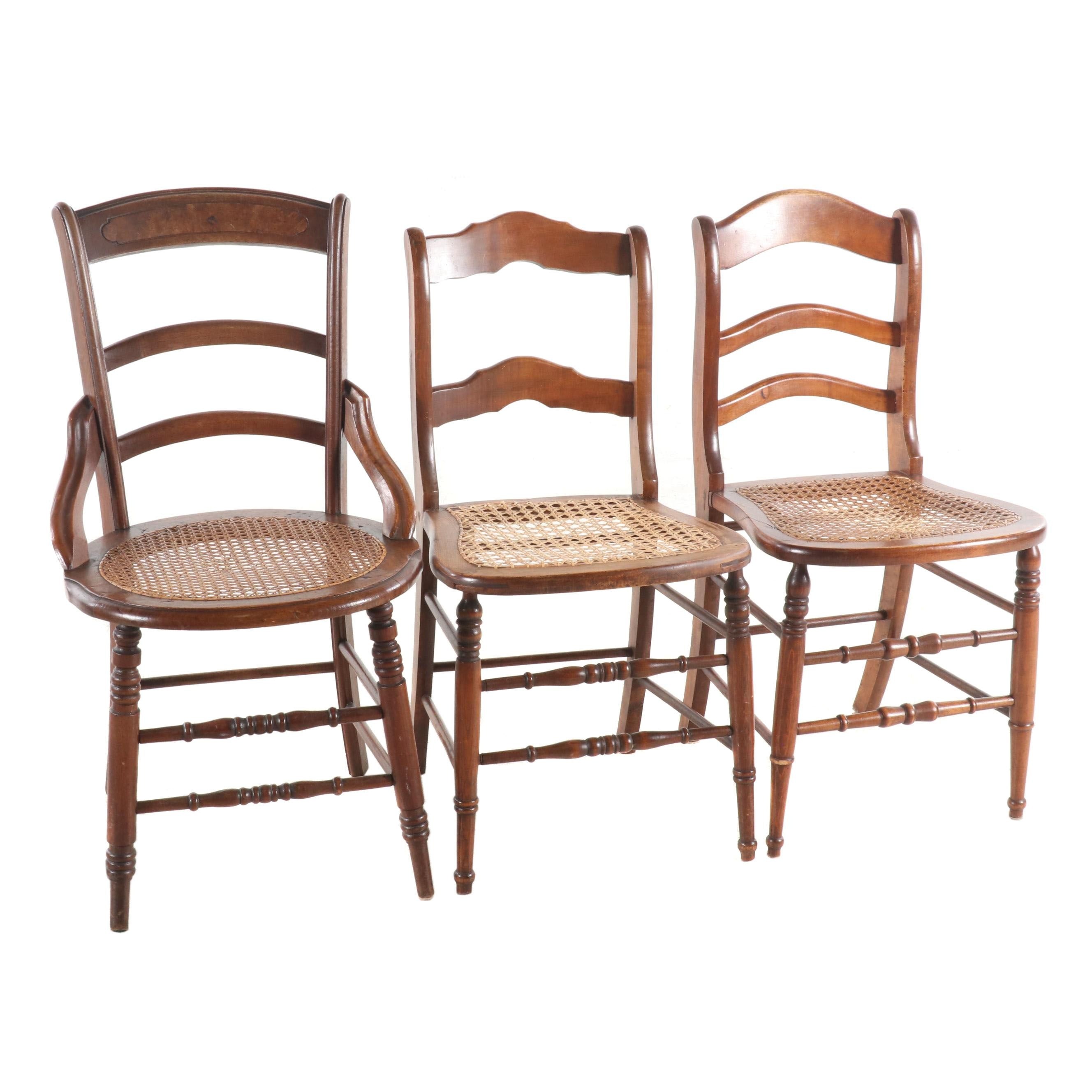 Caned-Seat Wooden Side Chair Grouping, Early 20th Century