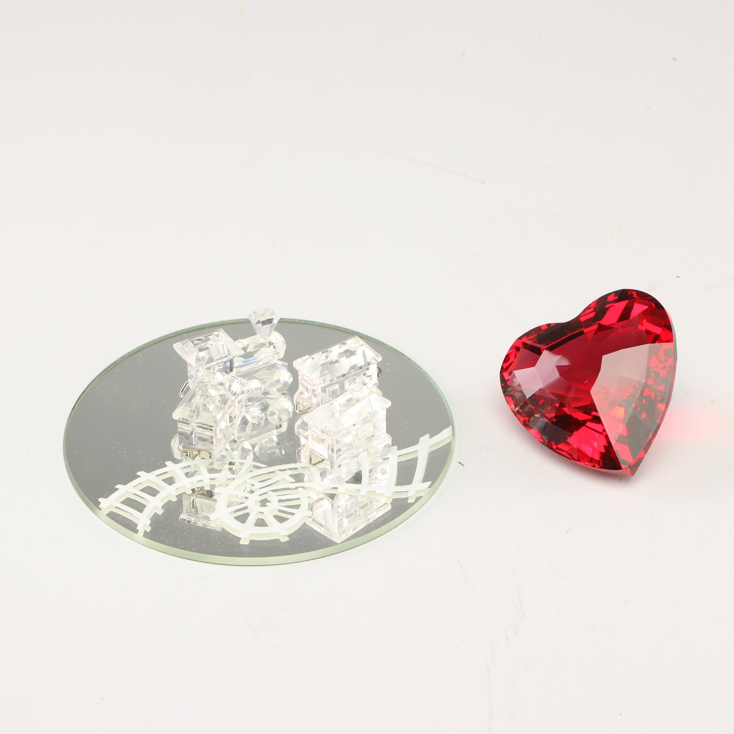 Swarovski Crystal Heart and Other Crystal Figurines, Late 20th Century