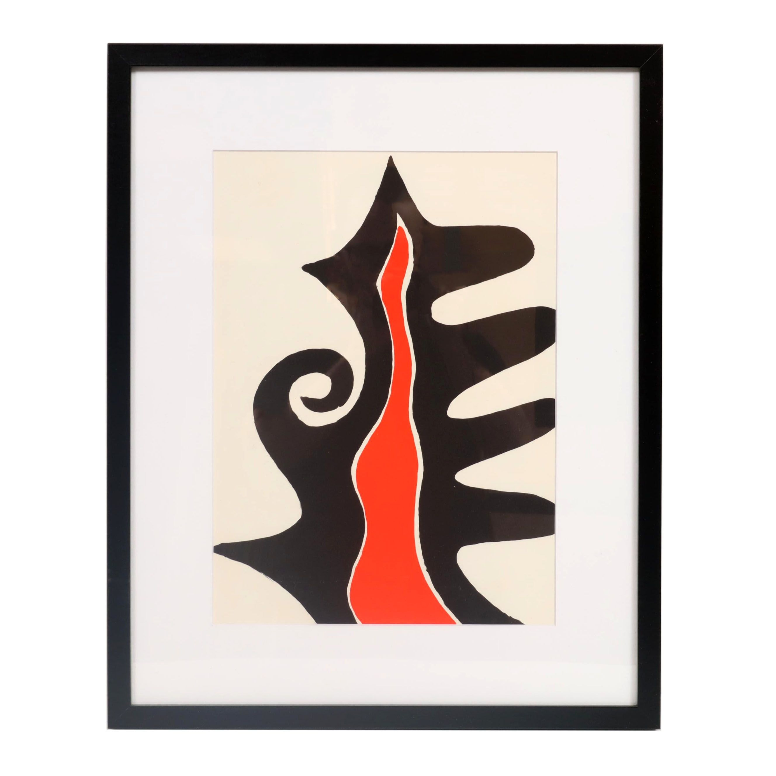"""Alexander Calder Color Lithograph """"Le Chasse Neige"""" for """"Derrière le Miroir"""""""