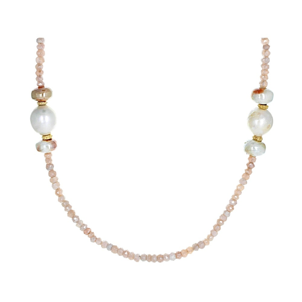 Gold Wash on Sterling Silver Cultured Pearl, Prehnite, and Moonstone Necklace