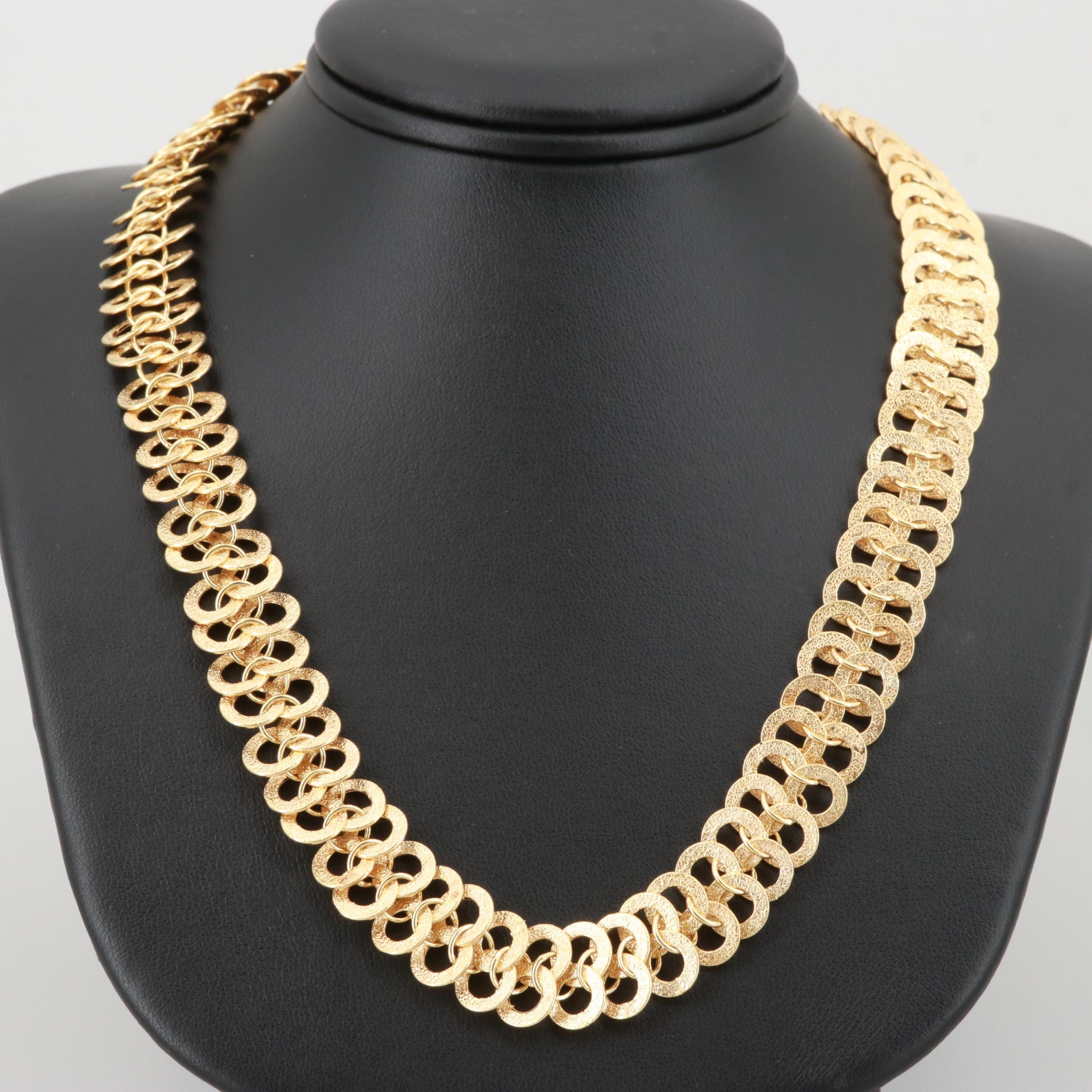 14K Yellow Gold Textured Fancy Link Necklace