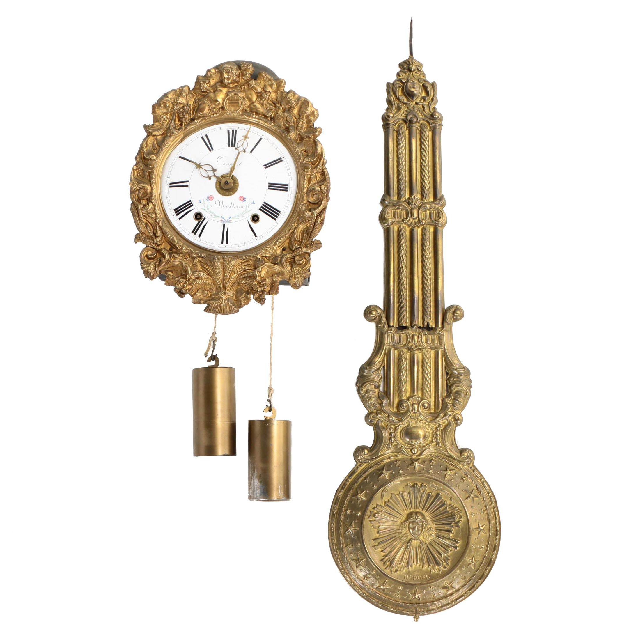 French Repoussé Brass and Enamel Comtoise Wall Clock, 19th Century