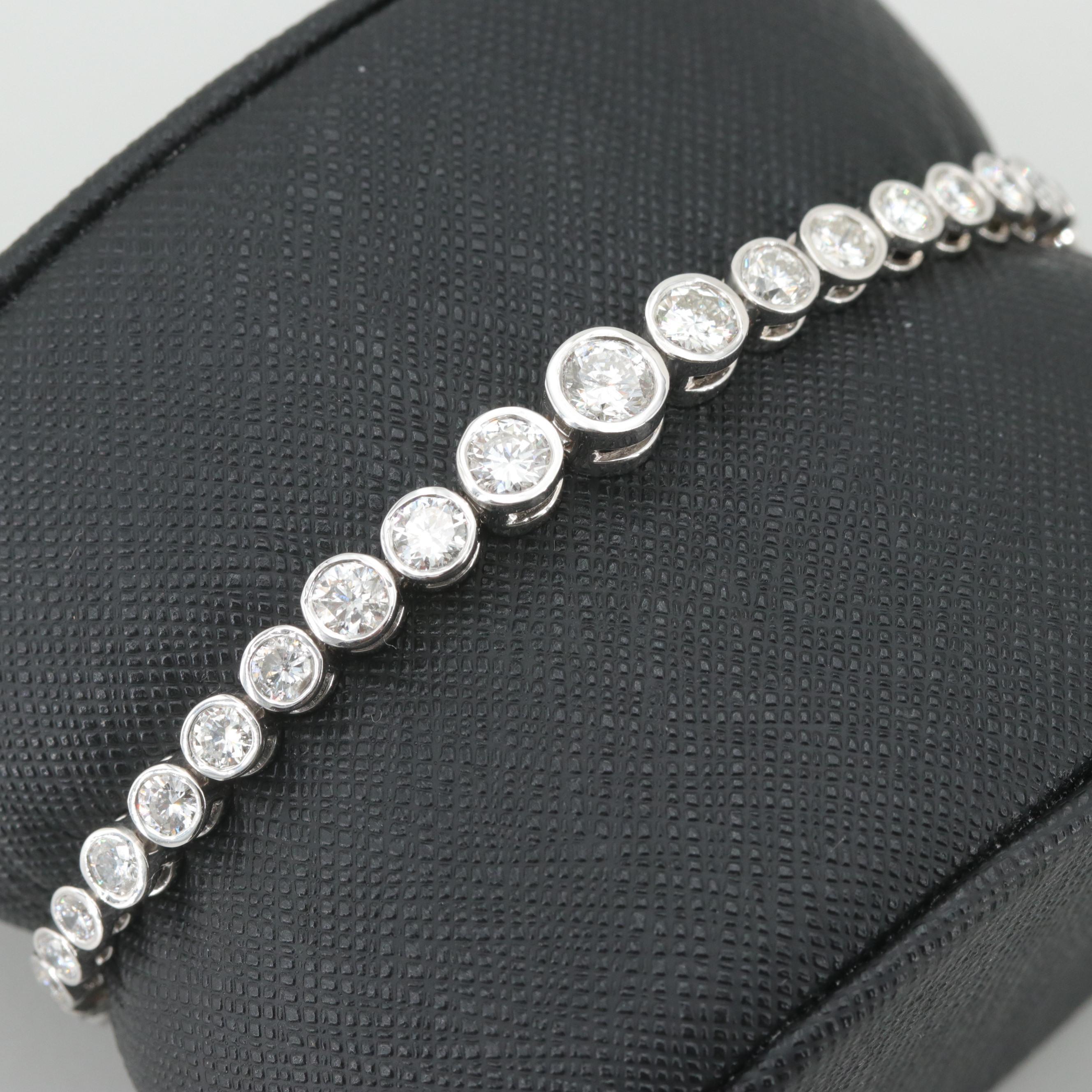 14K White Gold 6.05 CTW Diamond Graduated Bracelet