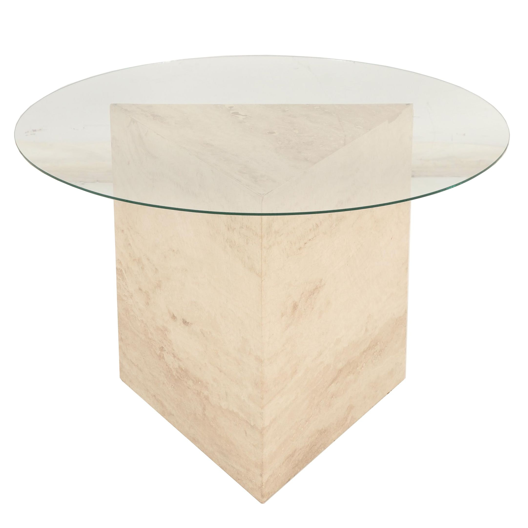 Modern Glass Top End Table with Travertine Triangular Base