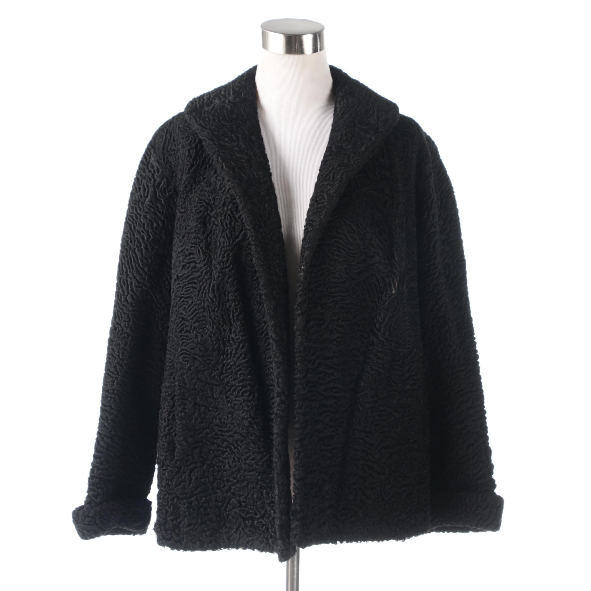 Schiaparelli Paris Black Persian Lamb Fur Coat, 1950s Vintage