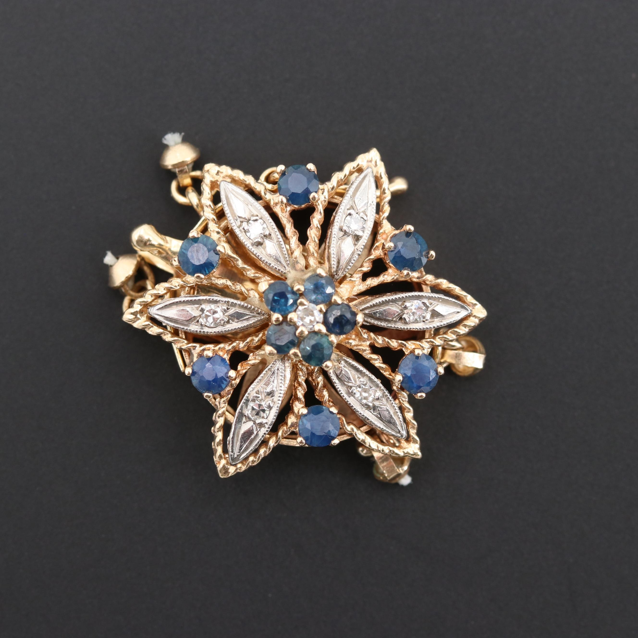 14K Yellow Gold Sapphire and Diamond Flower Clasp