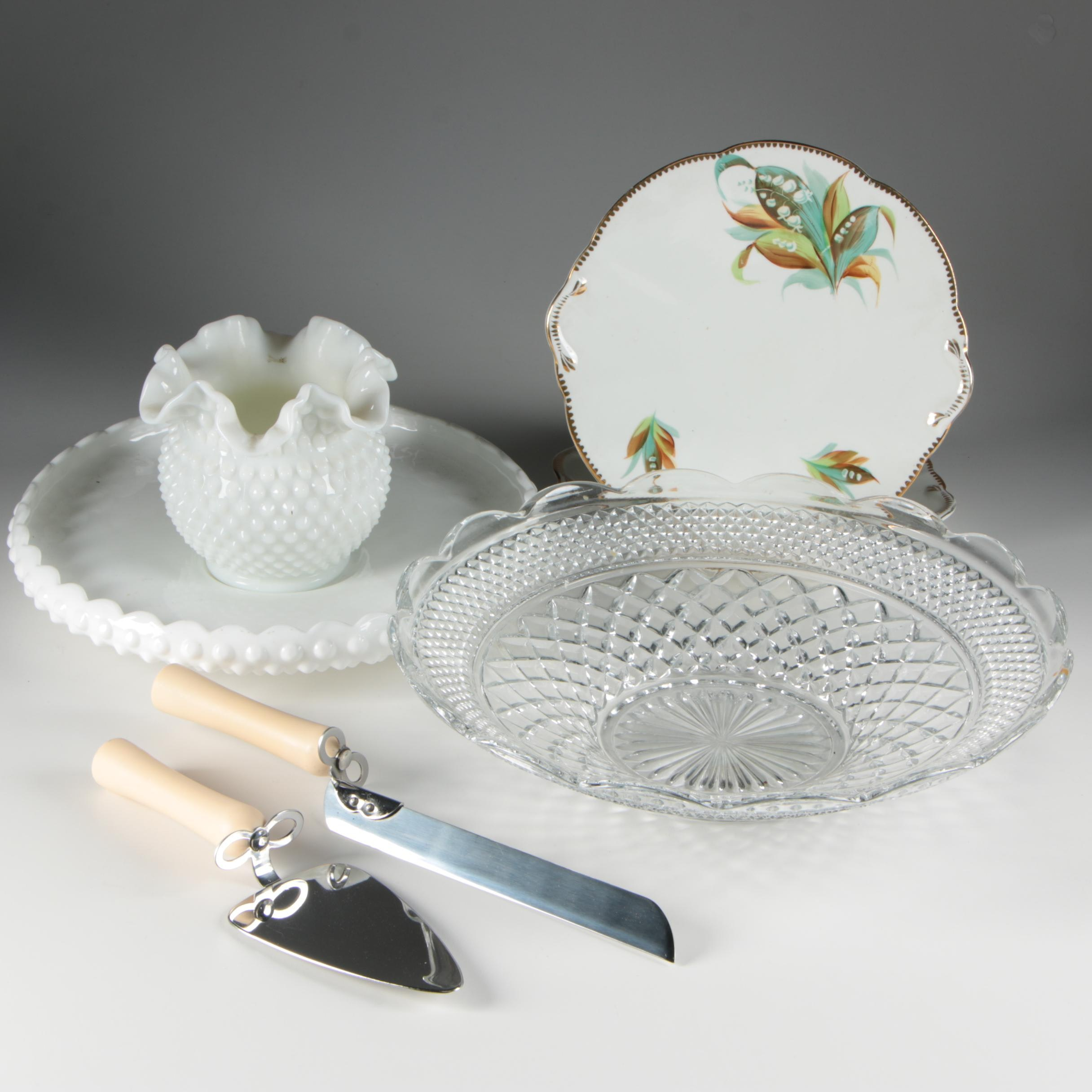 Michael Graves Cake Knife and Server with Cake Plate and Milk Glass