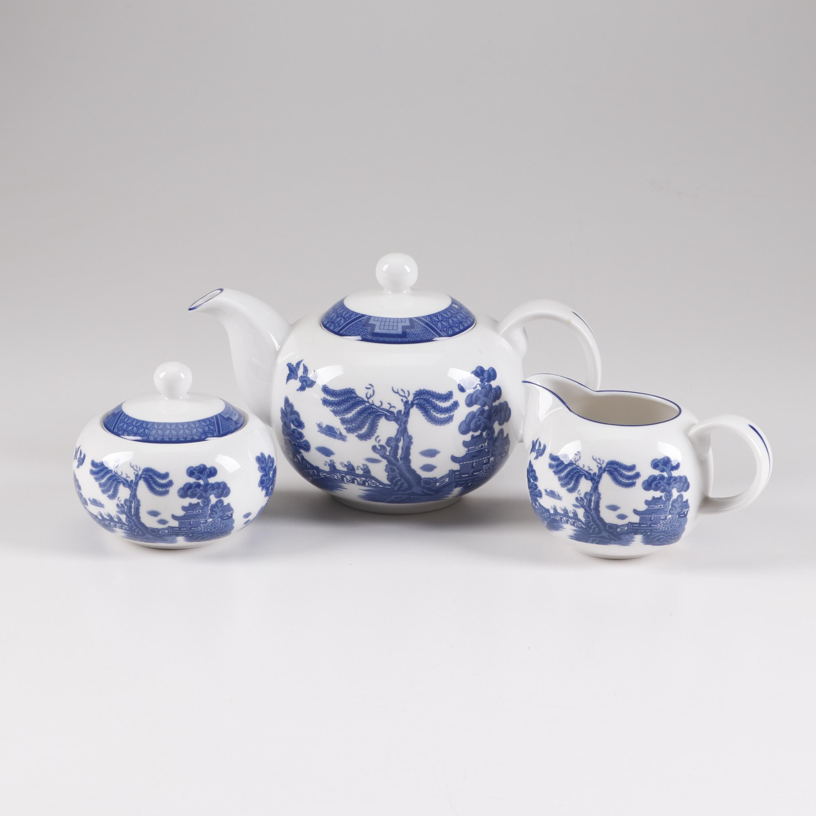 "Royal Doulton ""Real Old Willow"" Ceramic Tea Set"