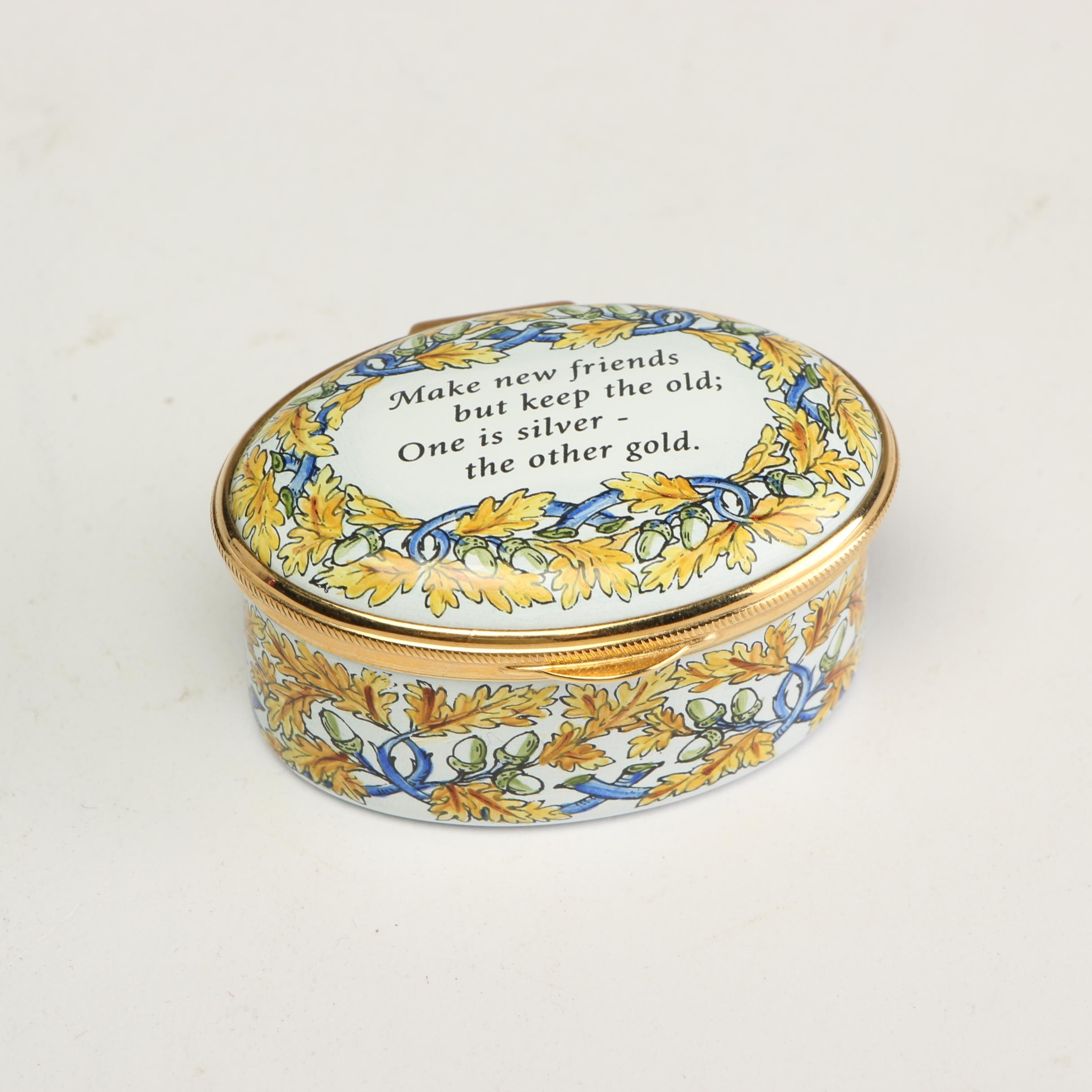 Staffordshire Enamels Oval Trinket Box, Late 20th Century