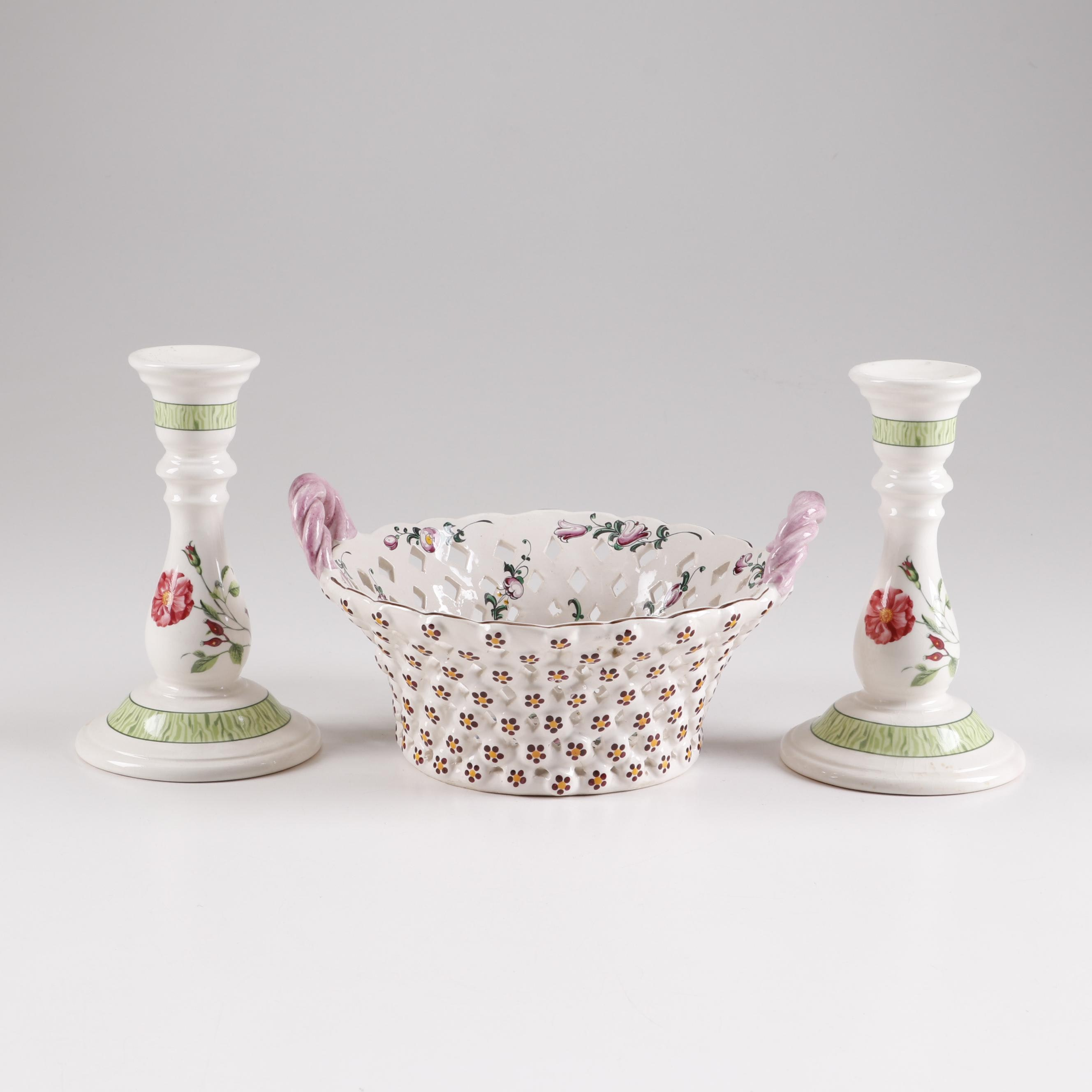 Tiffany & Co. Hand-Painted French Porcelain Reticulated Bowl and Candlesticks