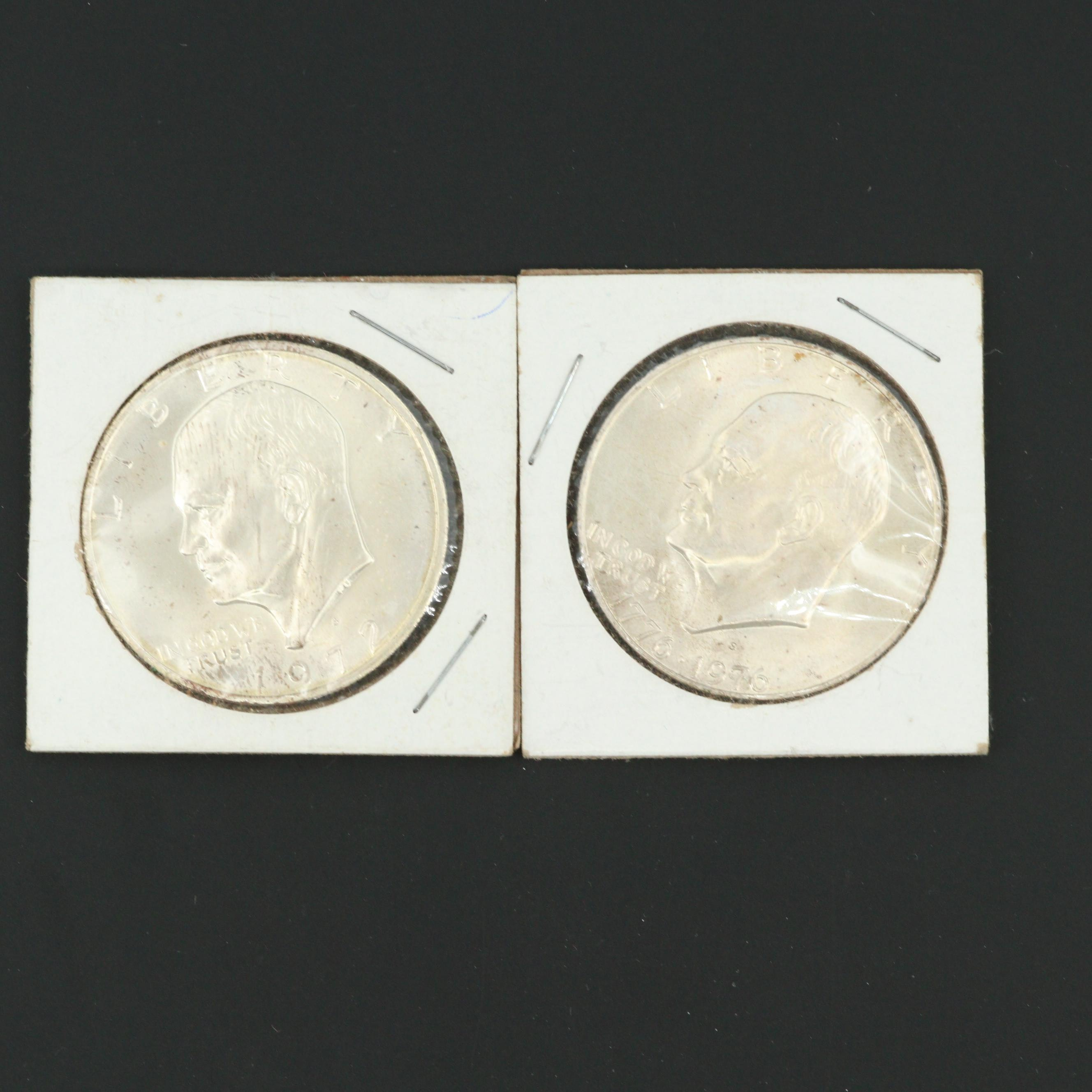 Two Silver Clad Eisenhower Dollars