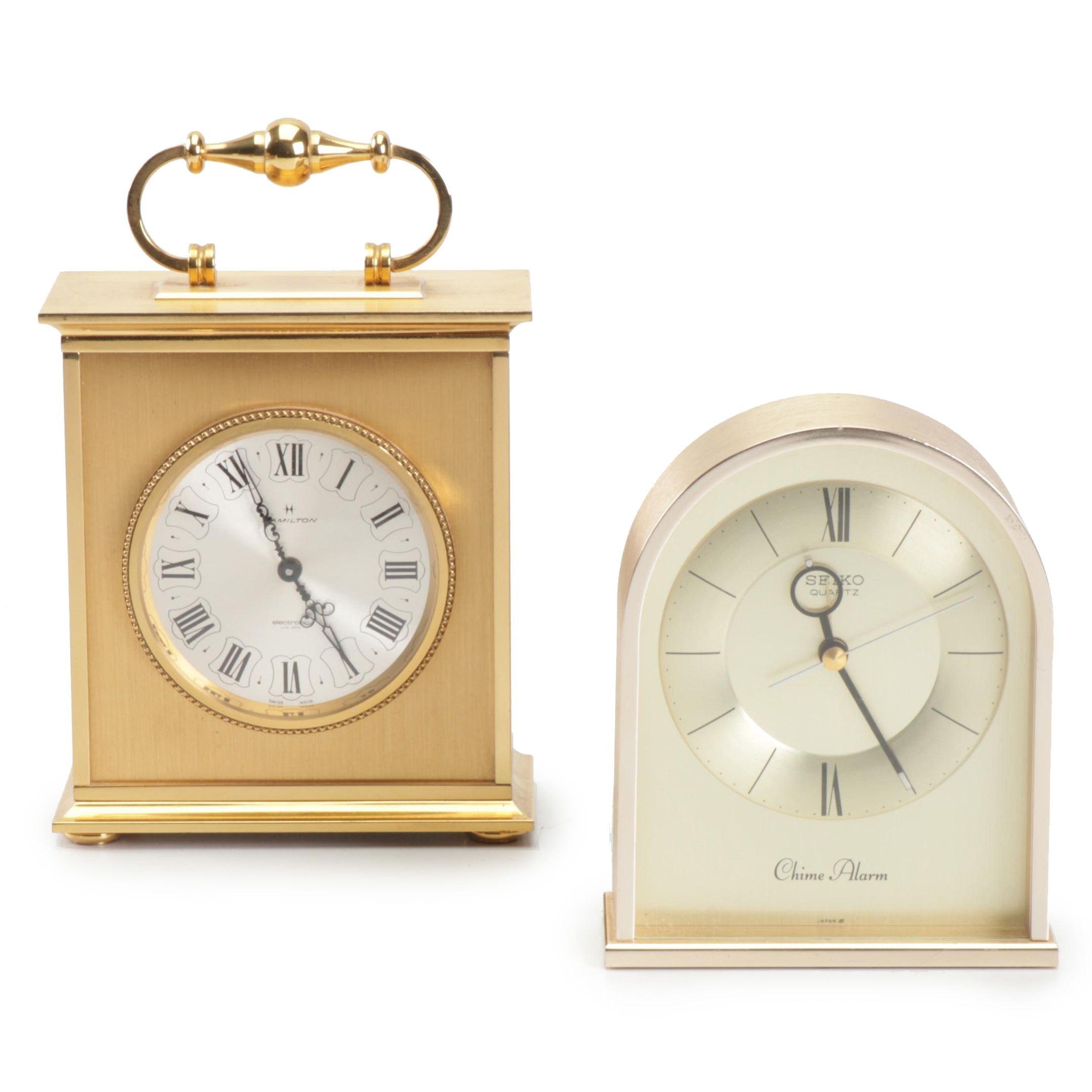 Contemporary Hamilton Swiss Made Carriage Clock and Seiko Chime Alarm Clock