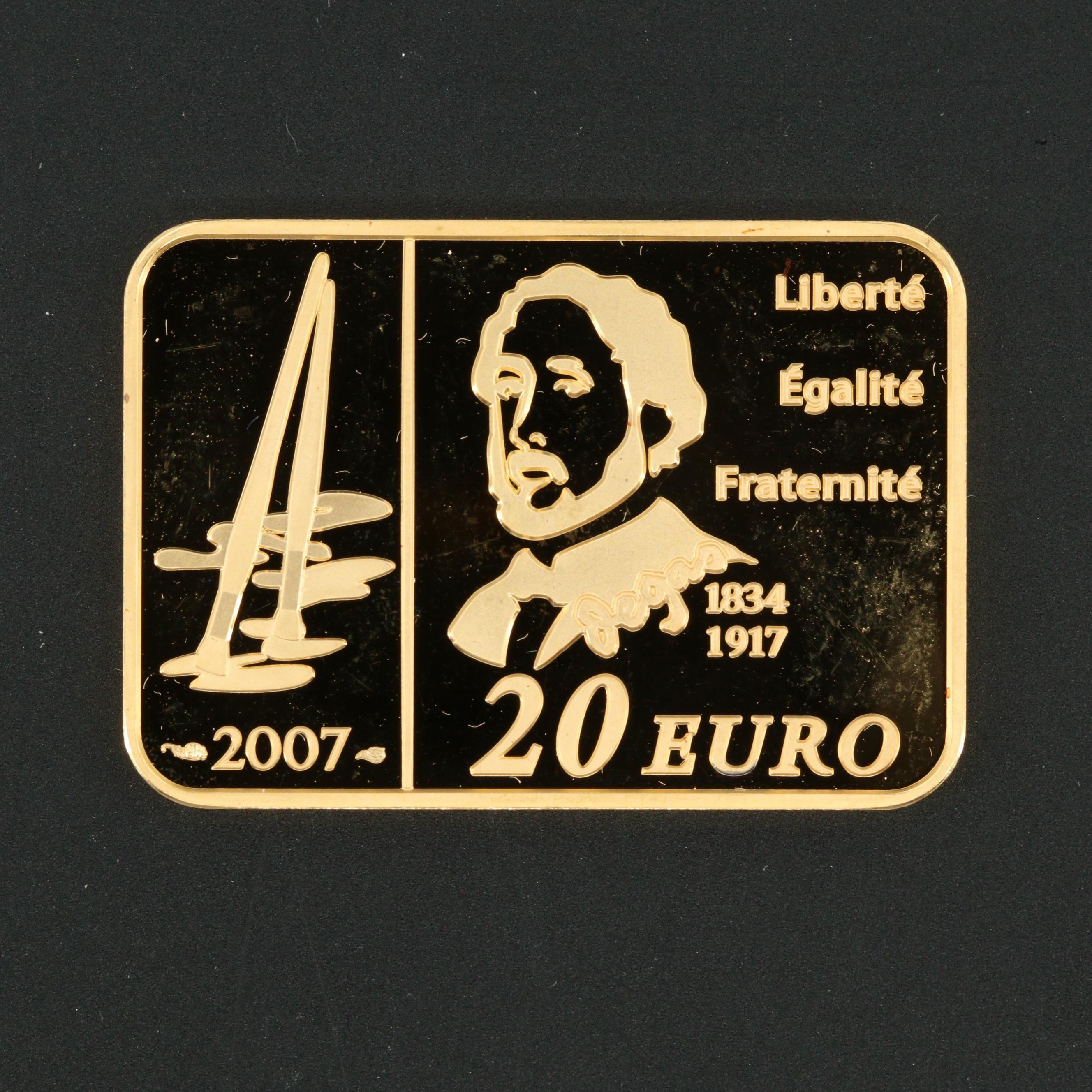 2007 France 20 Euro Edgar Degas Gold Bullion Coin