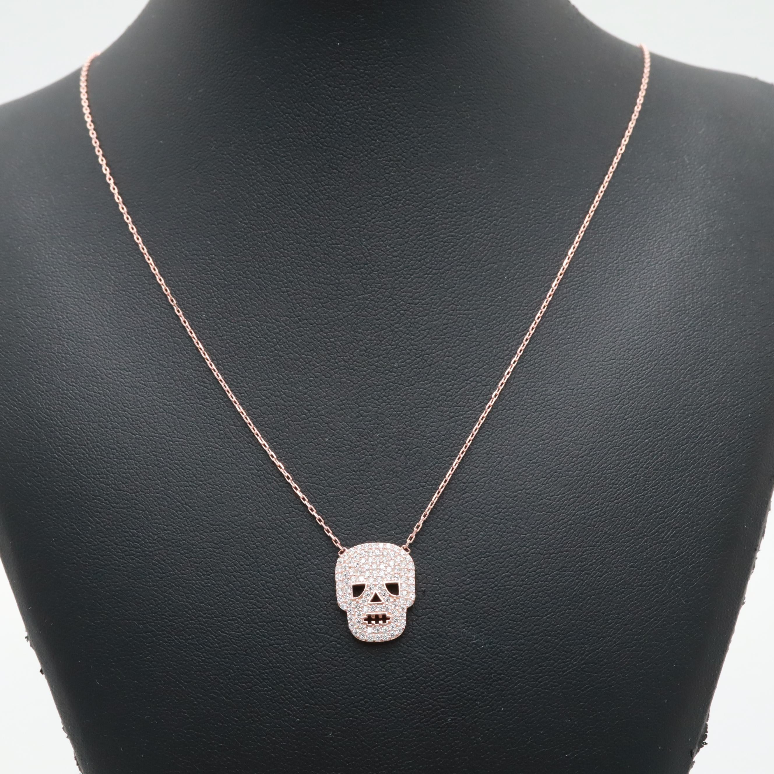 Rose Gold Wash on Sterling Silver Cubic Zirconia Adjustable Skull Necklace