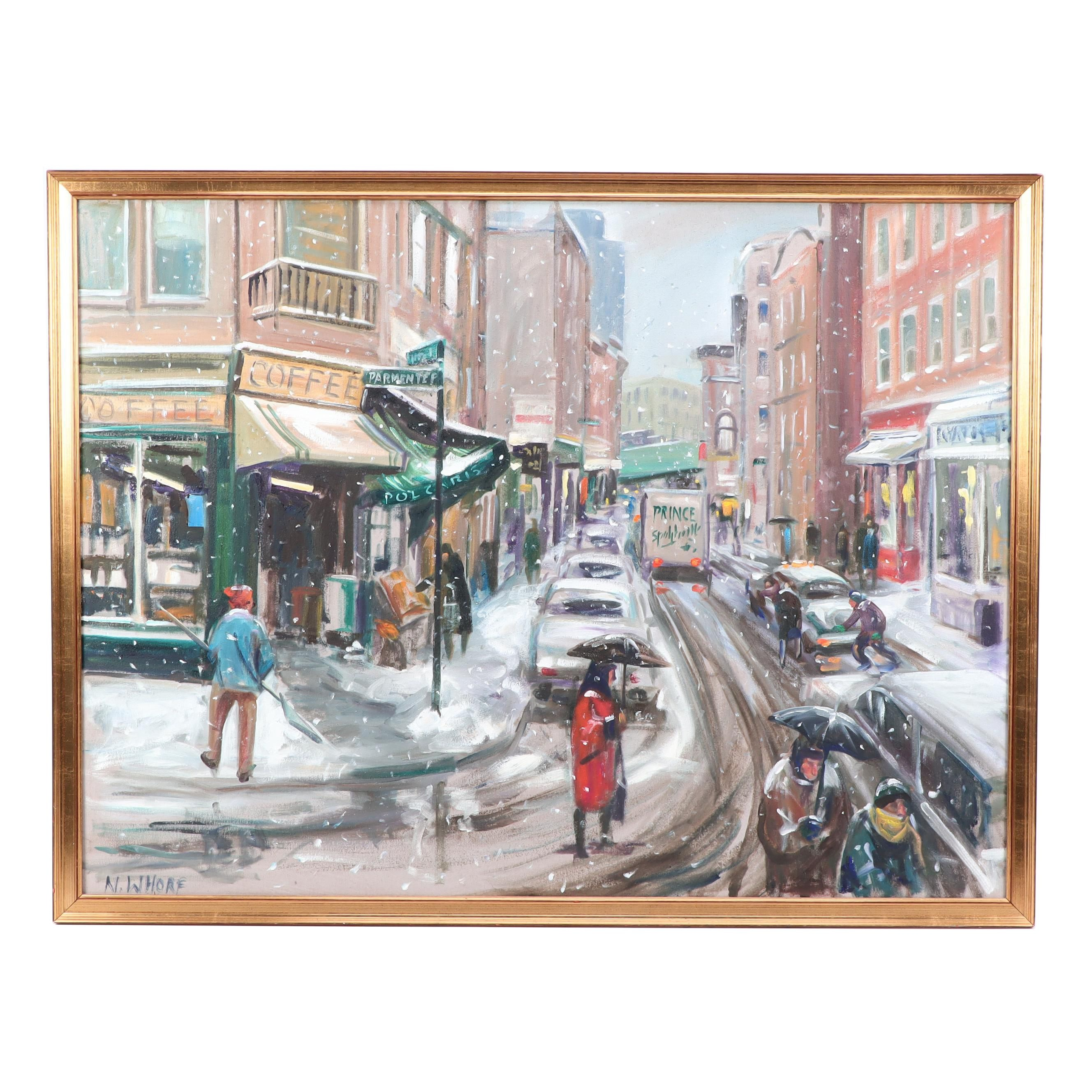 "Nancy Whorf Oil Painting ""North End Winter"""
