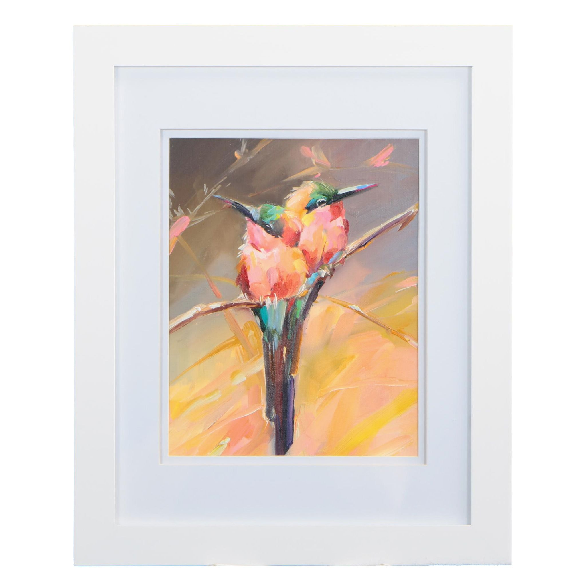 Oil Painting of Two Birds on a Branch