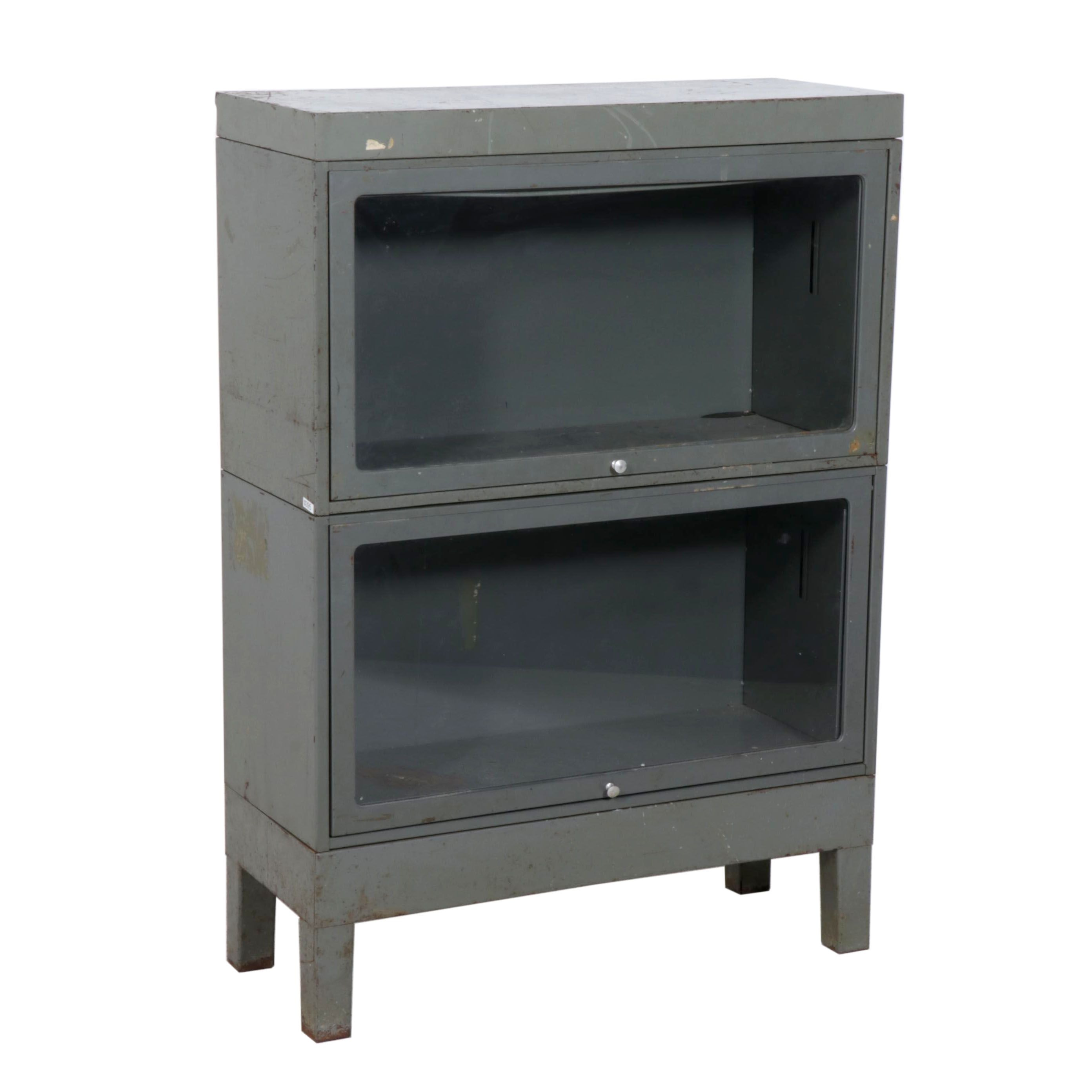 Gray-Painted Metal Barrister's Bookcase