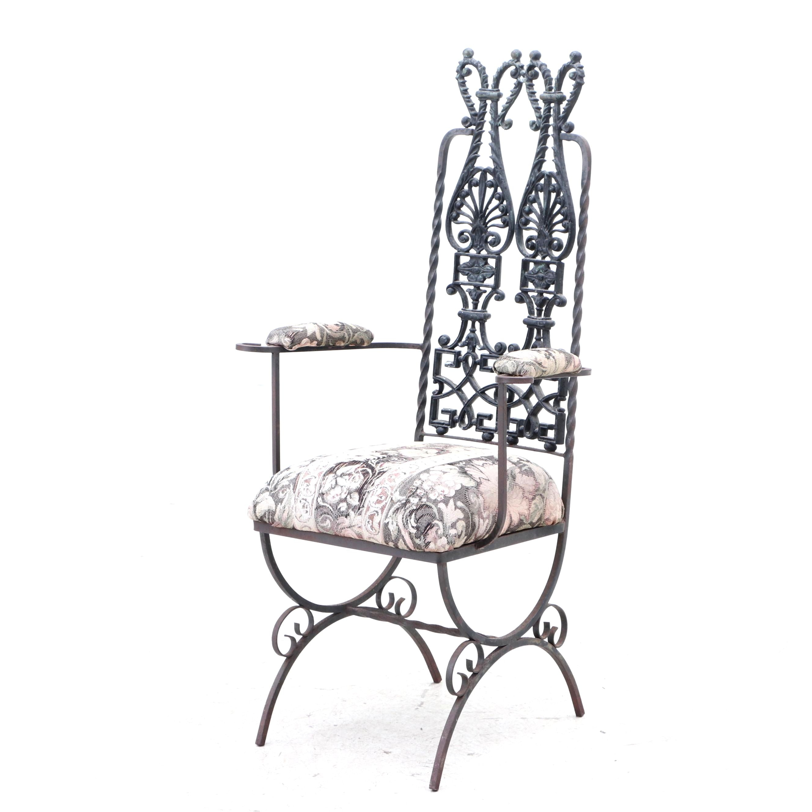 Classical Style Cast and Wrought Iron Chair, Circa 1950s-60s