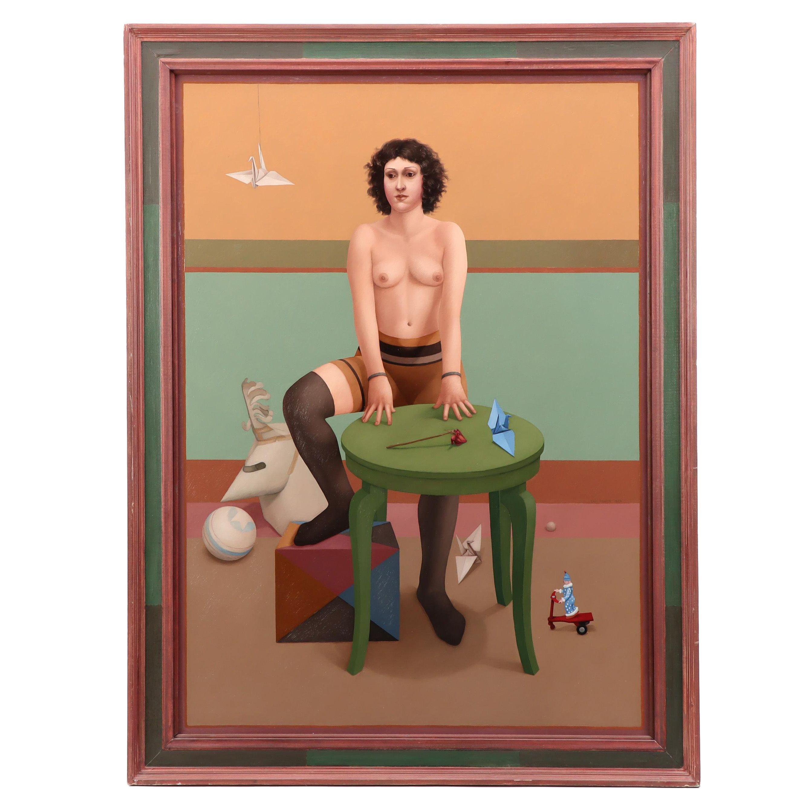"Lani Irwin Oil Painting ""The Paper Helmet"""