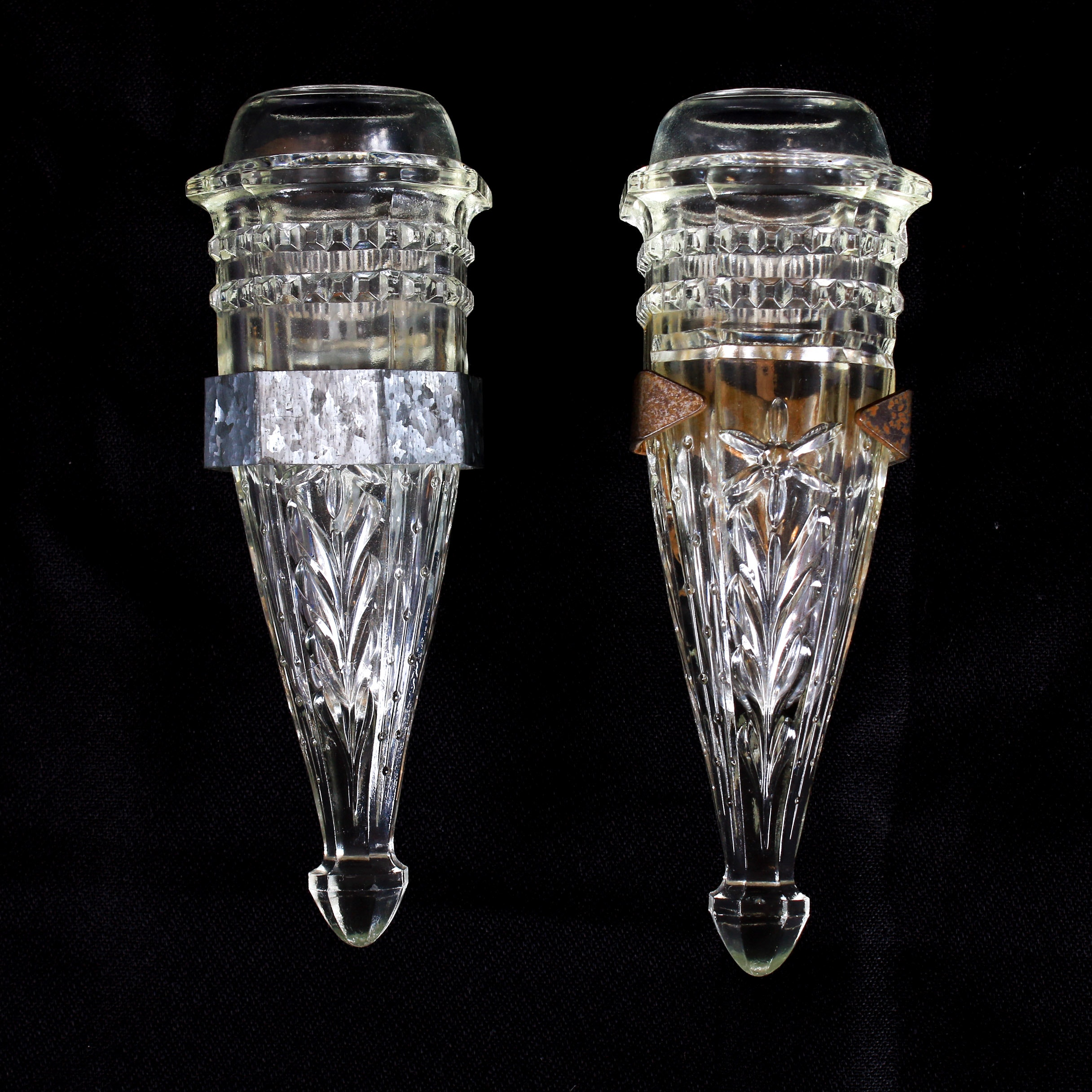 American Clear Glass Car Bud Vases, Depression Era