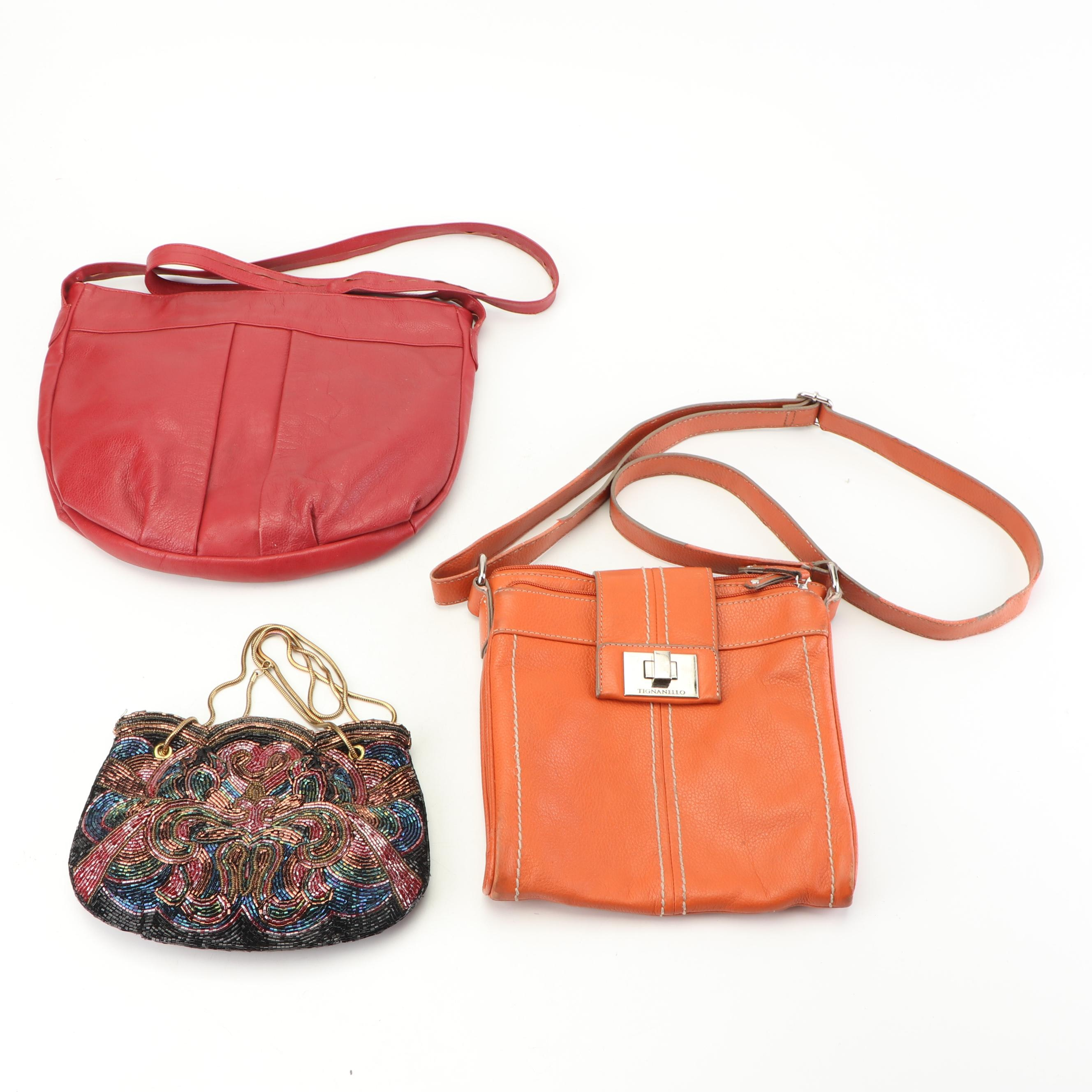 Pebbled Leather and Bead Embellished Handbags Including Tignanello