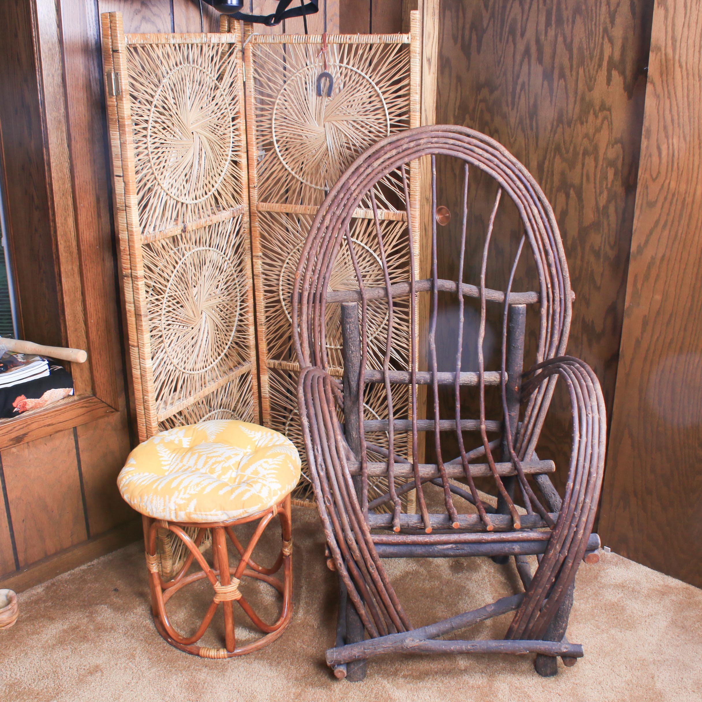 Woven Rattan Chair, Footstool and Screen