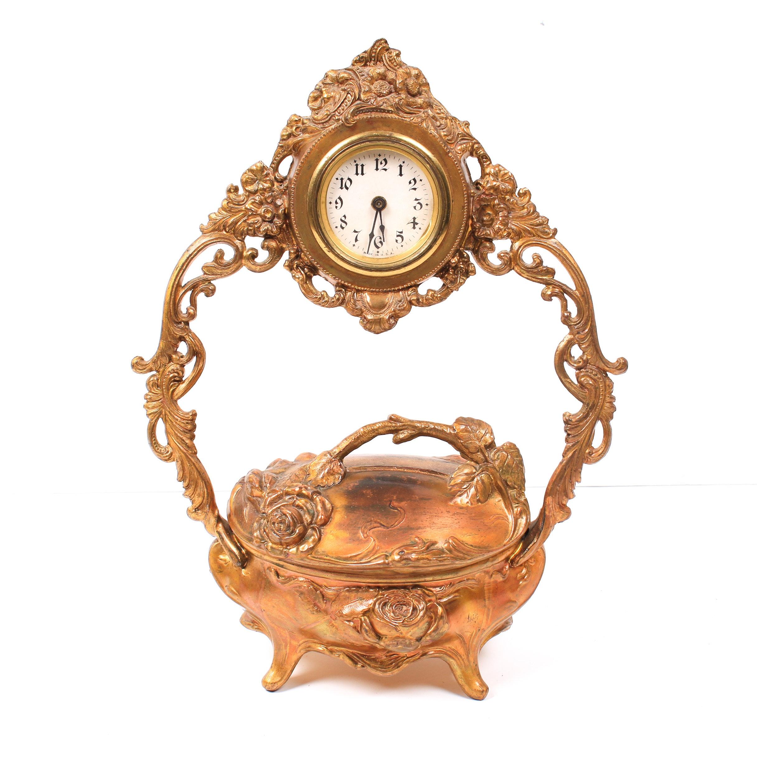 Art Nouveau Vanity Clock with Jewelry Casket