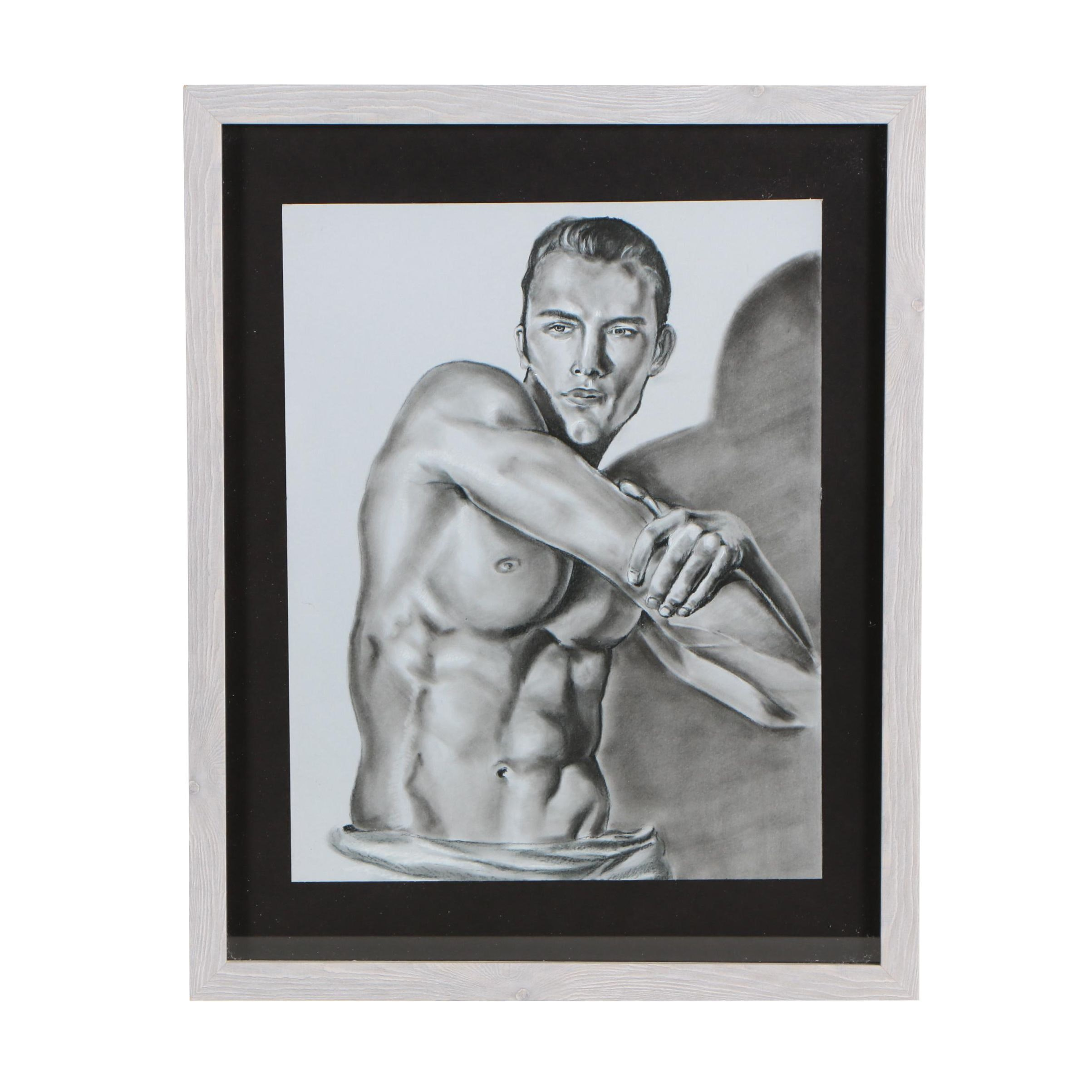 Pastel Drawing of Stretching Nude Male