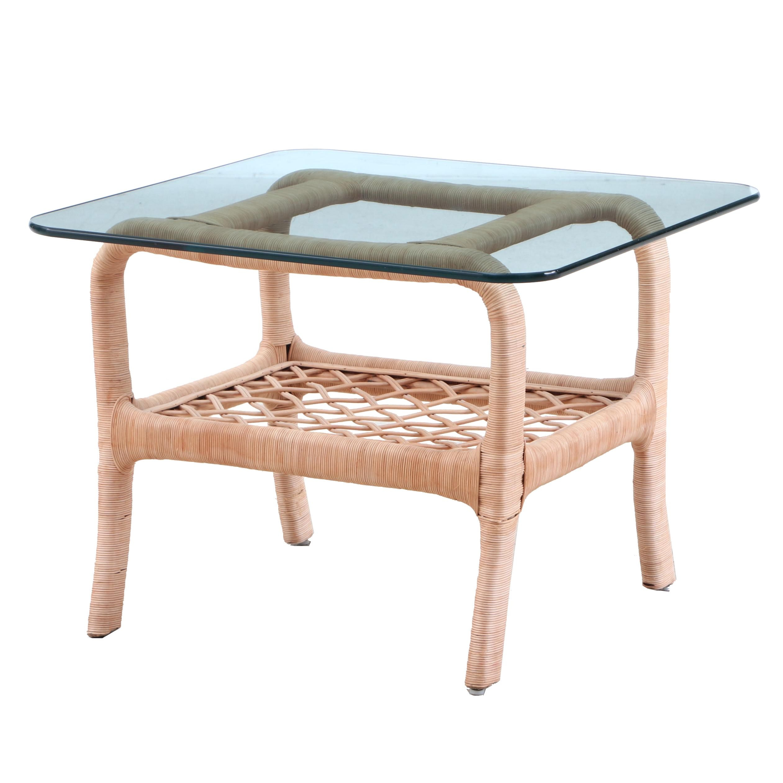 Contemporary Glass Top Wicker Patio Side Table