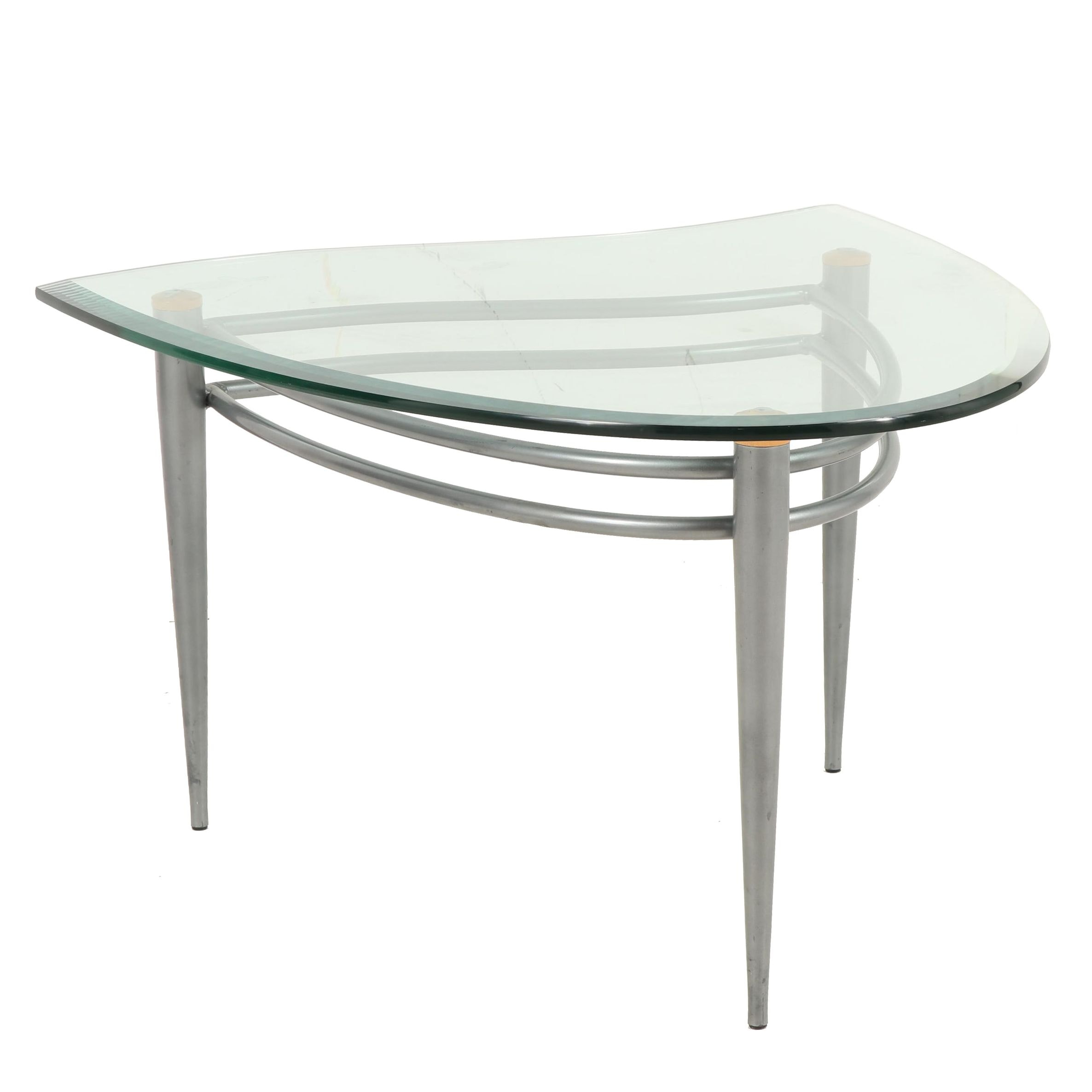 Contemporary Asymmetrical Glass and Metal Side Table