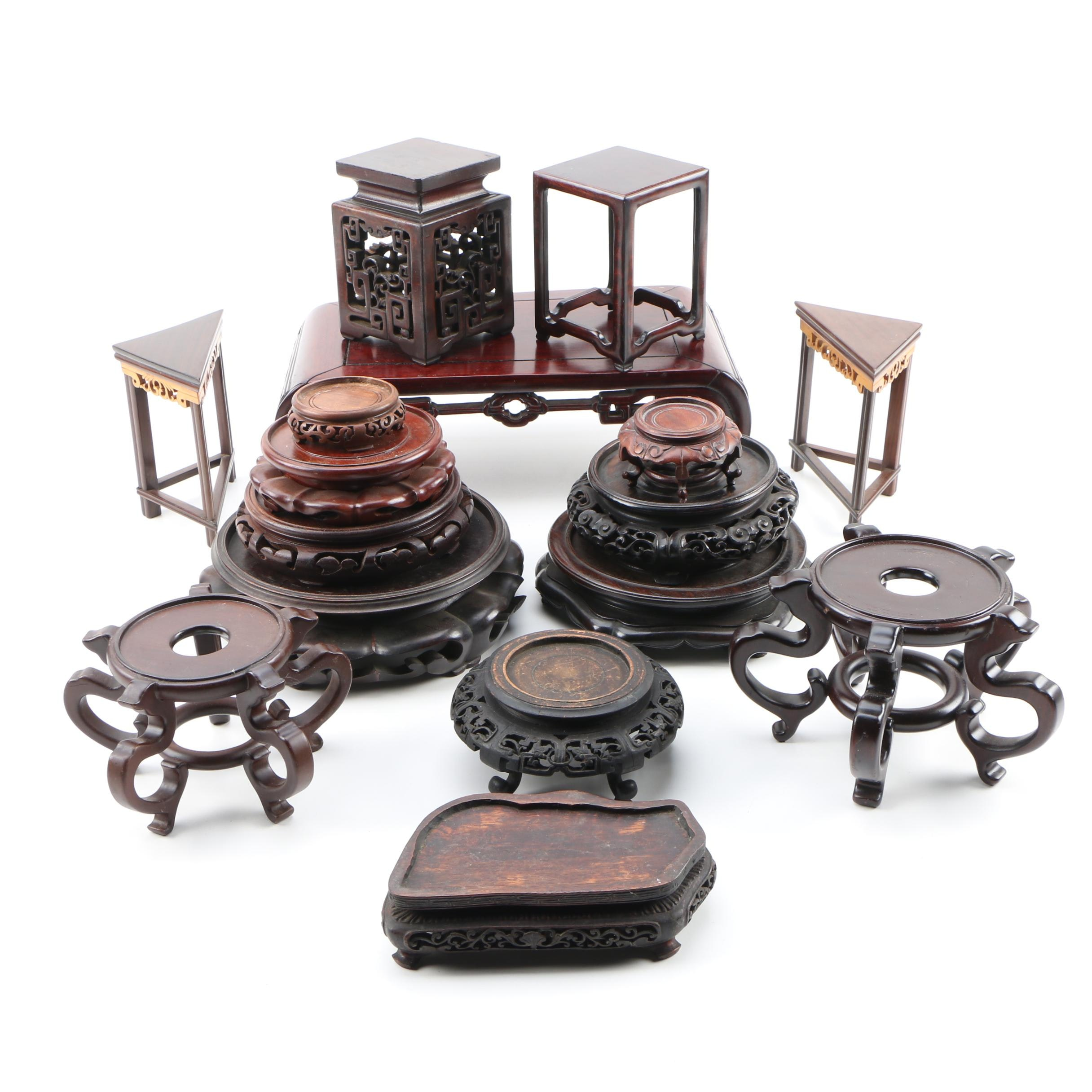 East Asian Carved Wood Stands